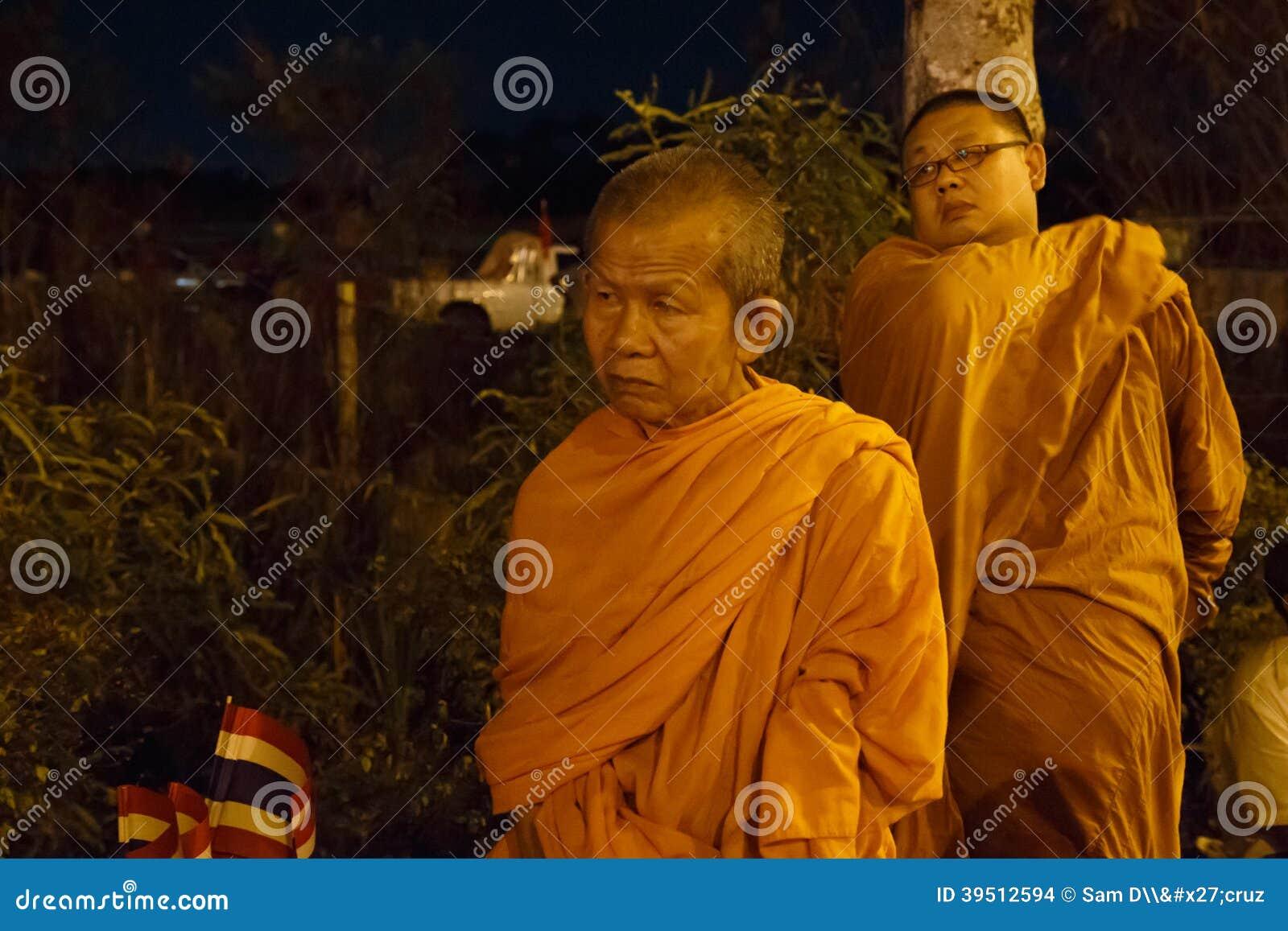 BANGKOK - APRIL 5 2014: Monks join the red shirts protest at sit