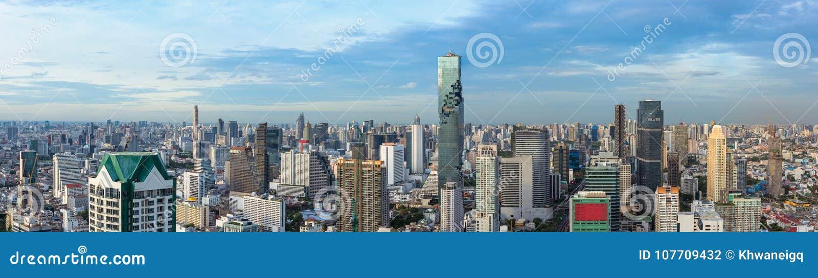 Bangkok ciity i biznesowy miastowy śródmieście Tajlandia, panorama