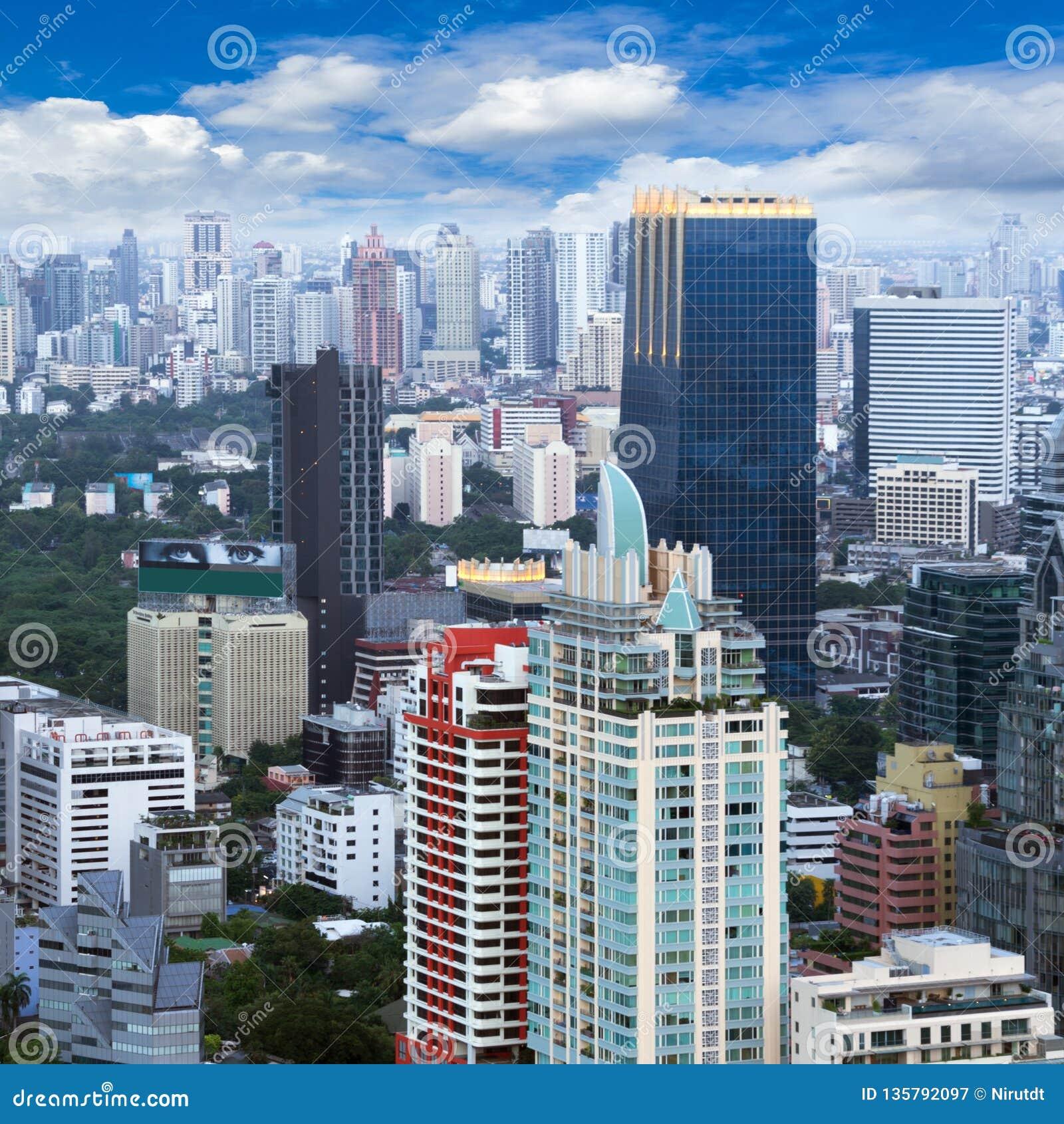 Bangkok city view stock image. Image of hotel, city ...