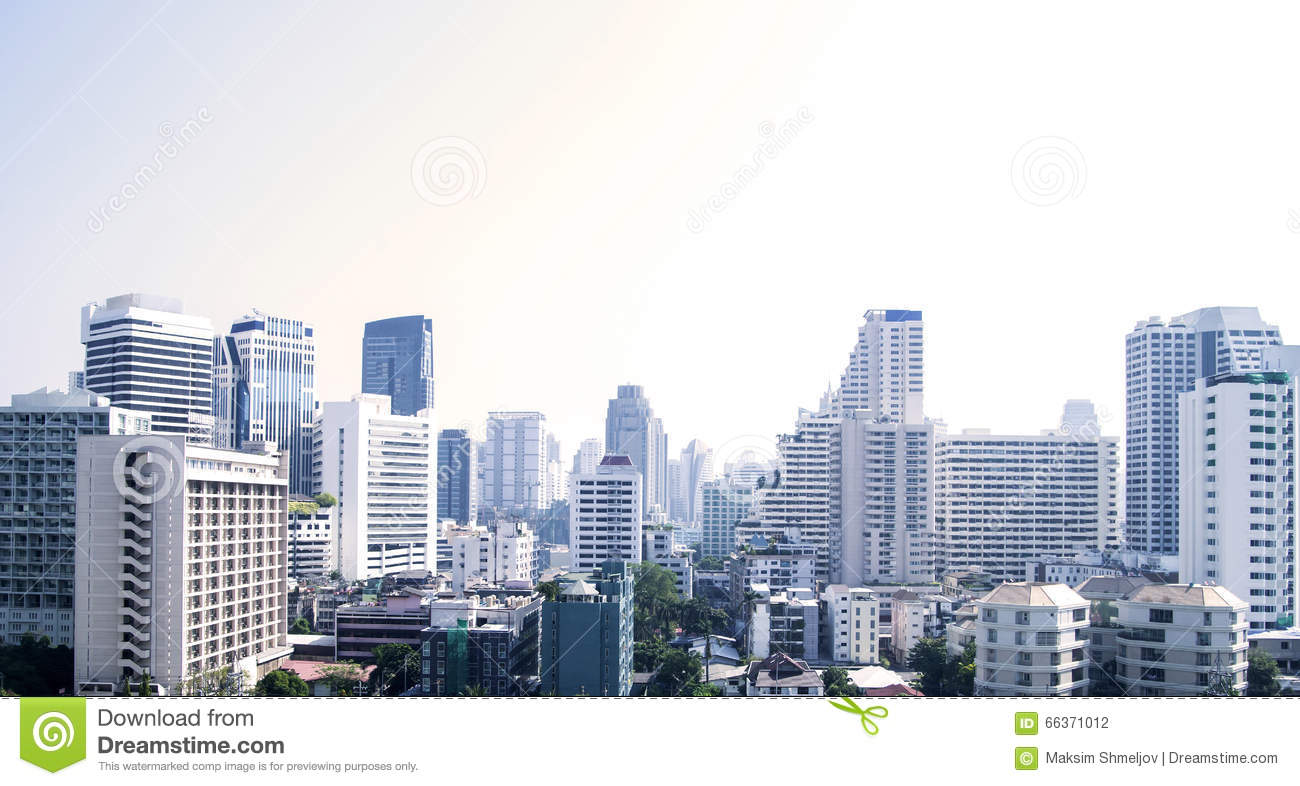 Bangkok cityscape of different office buildings and condos