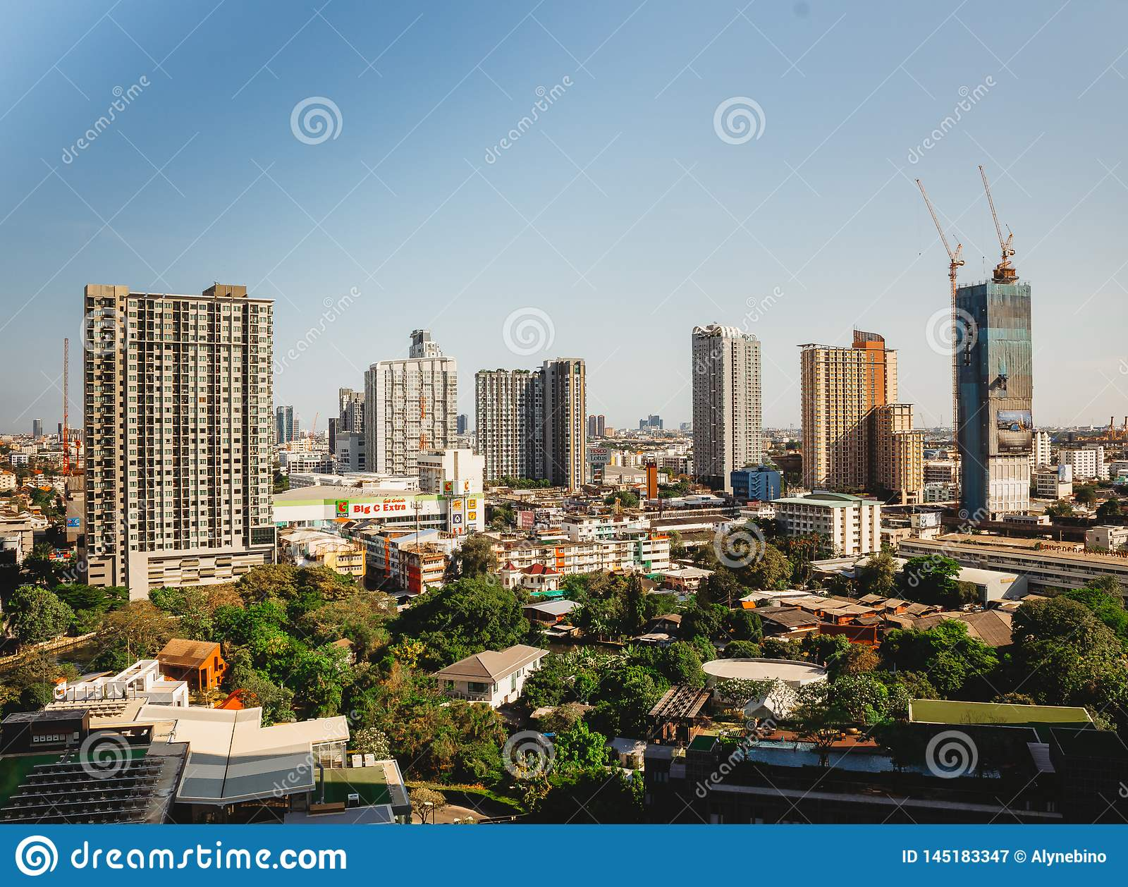 Bangkok cityscape of different office buildings