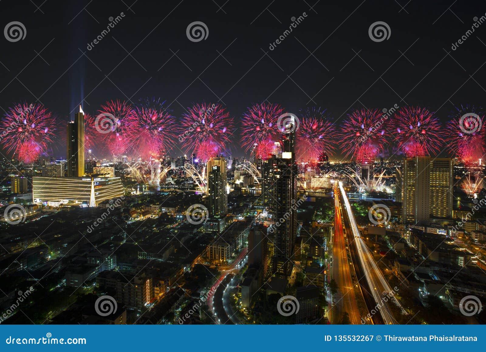 Bangkok Cityscape, Fireworks Celebration In The Business