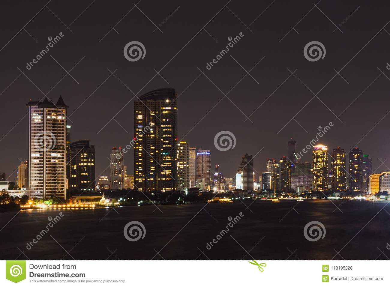 Bangkok Cityscape River Side At Night Time Editorial Stock