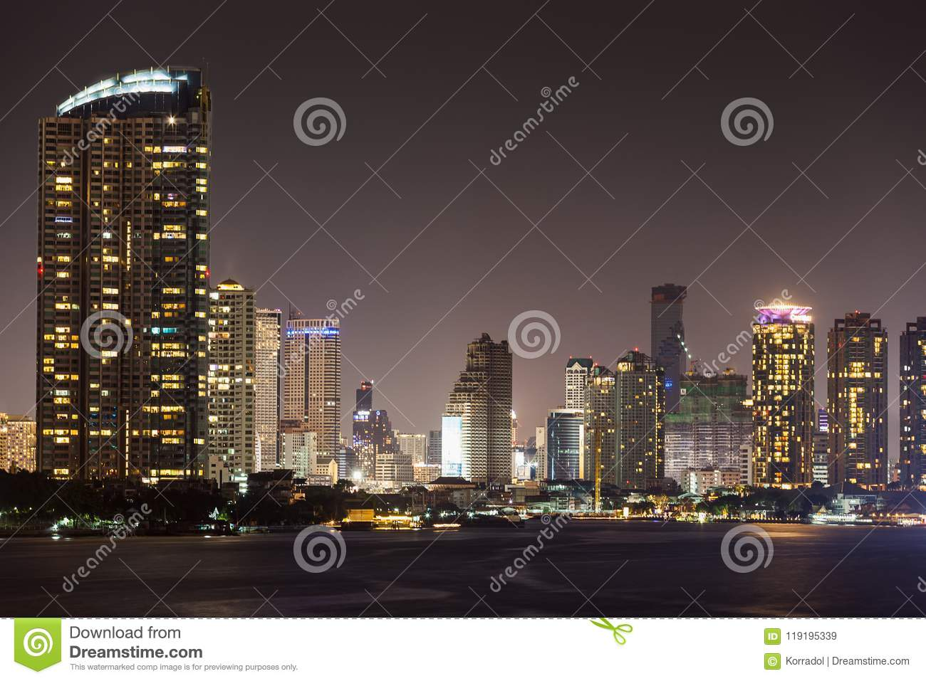Bangkok Cityscape River Side At Night Time Stock Image