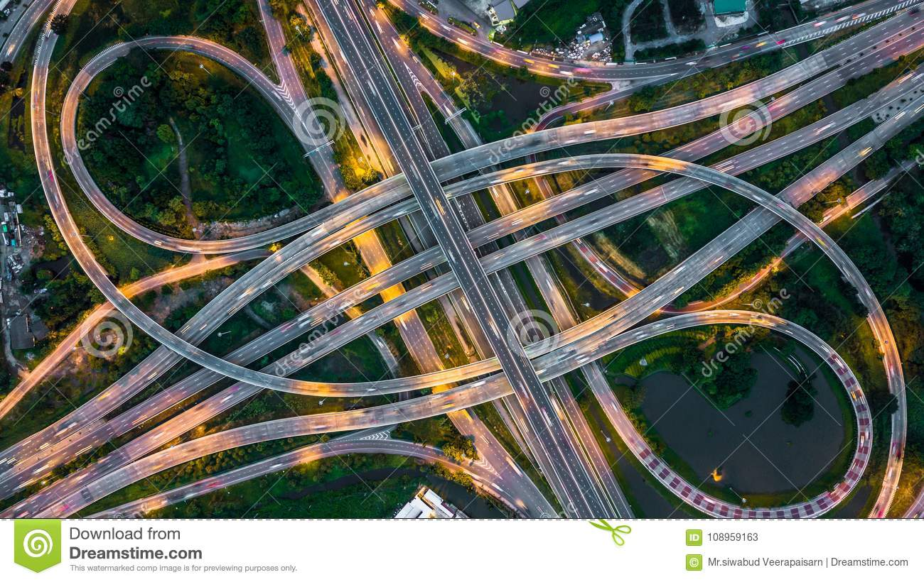 Bangkok Expressway top view, Top view over the highway,expressway and motorway at night, Aerial view interchange of a city, Shot