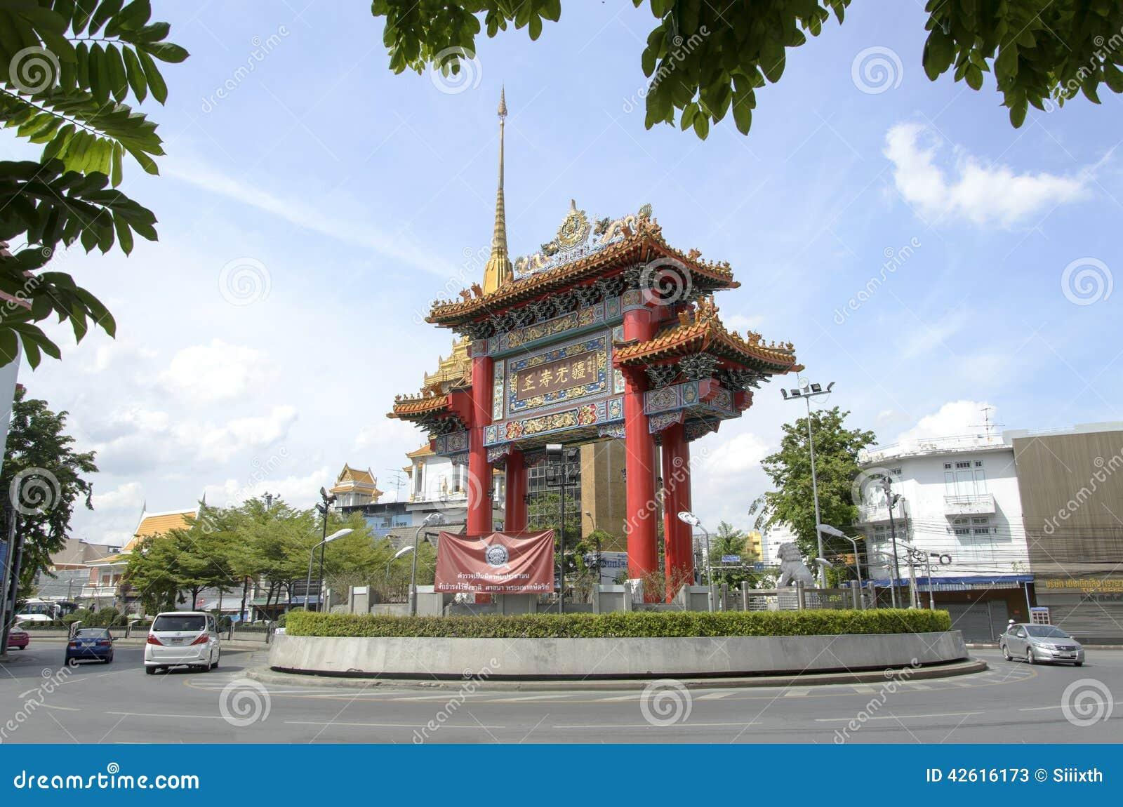 BANGKOK - 7 juli: Poort van Road van Chinatownyaowarat, hart