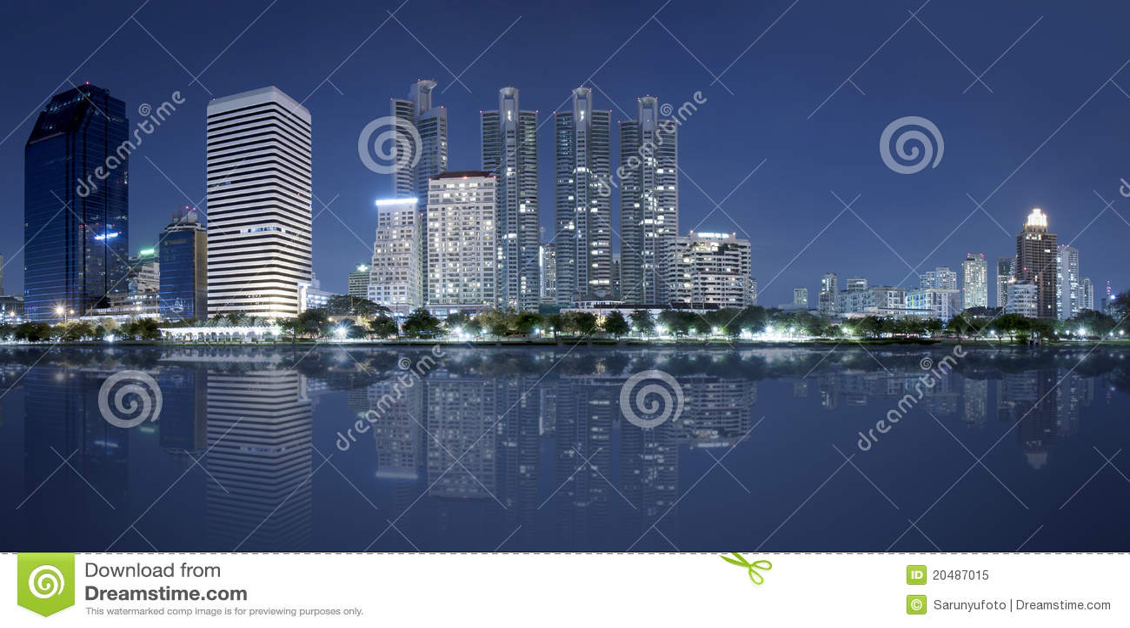Bangkok miasta noc panorama