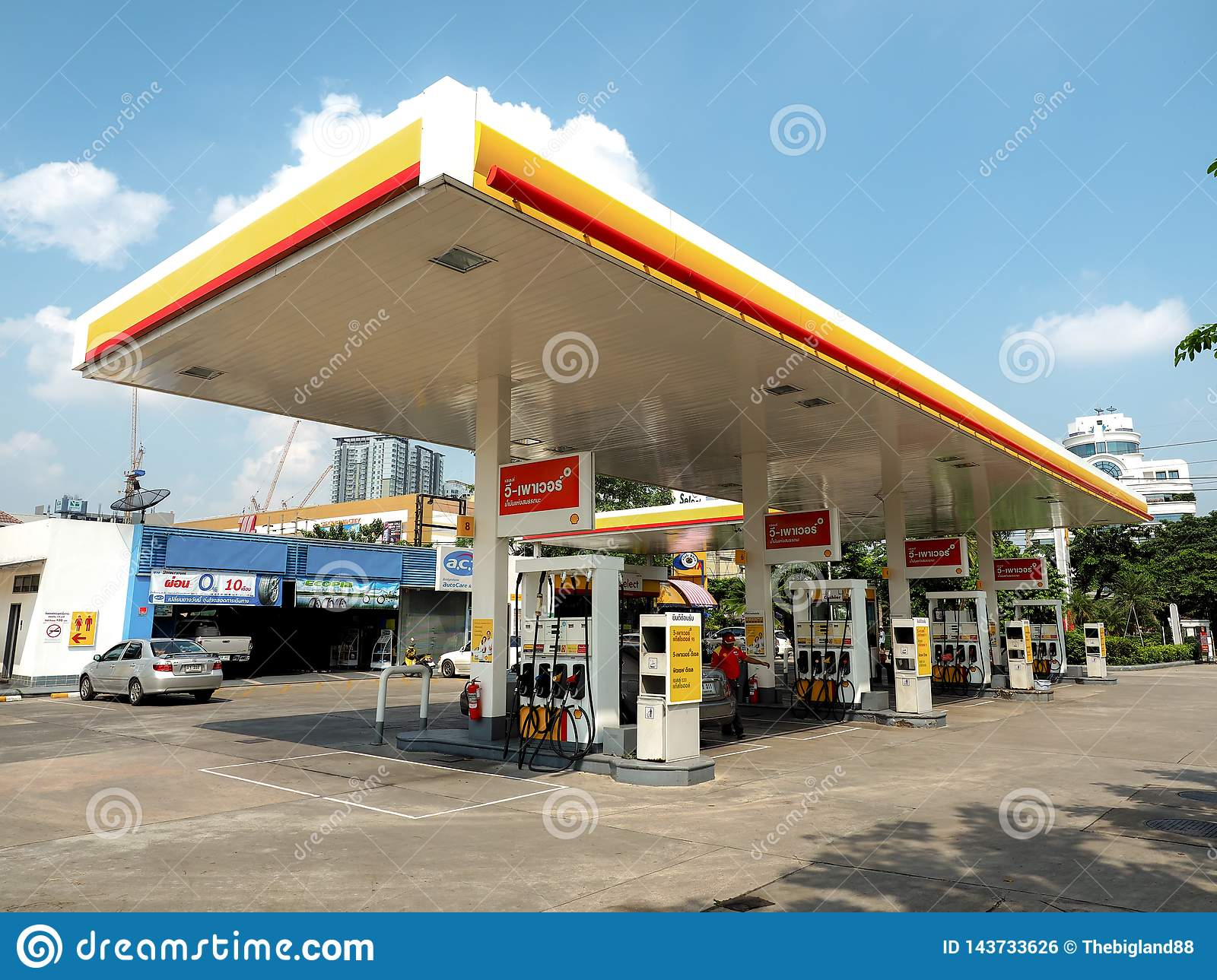 BANGKOK - OCT 24  Shell of gas station with blue sky background