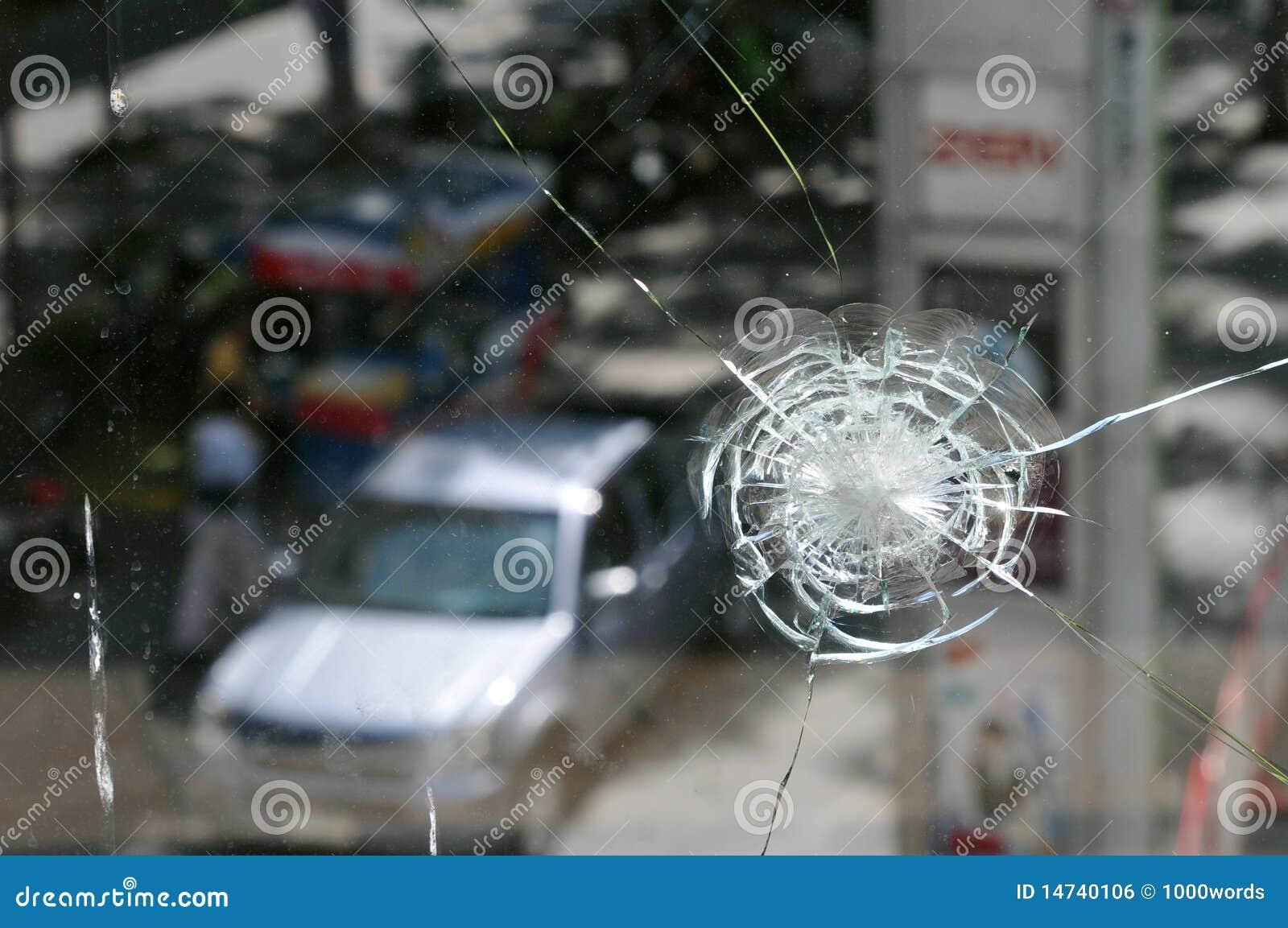 Bangkok skadade skottlossningtumultar shoppar fönstret