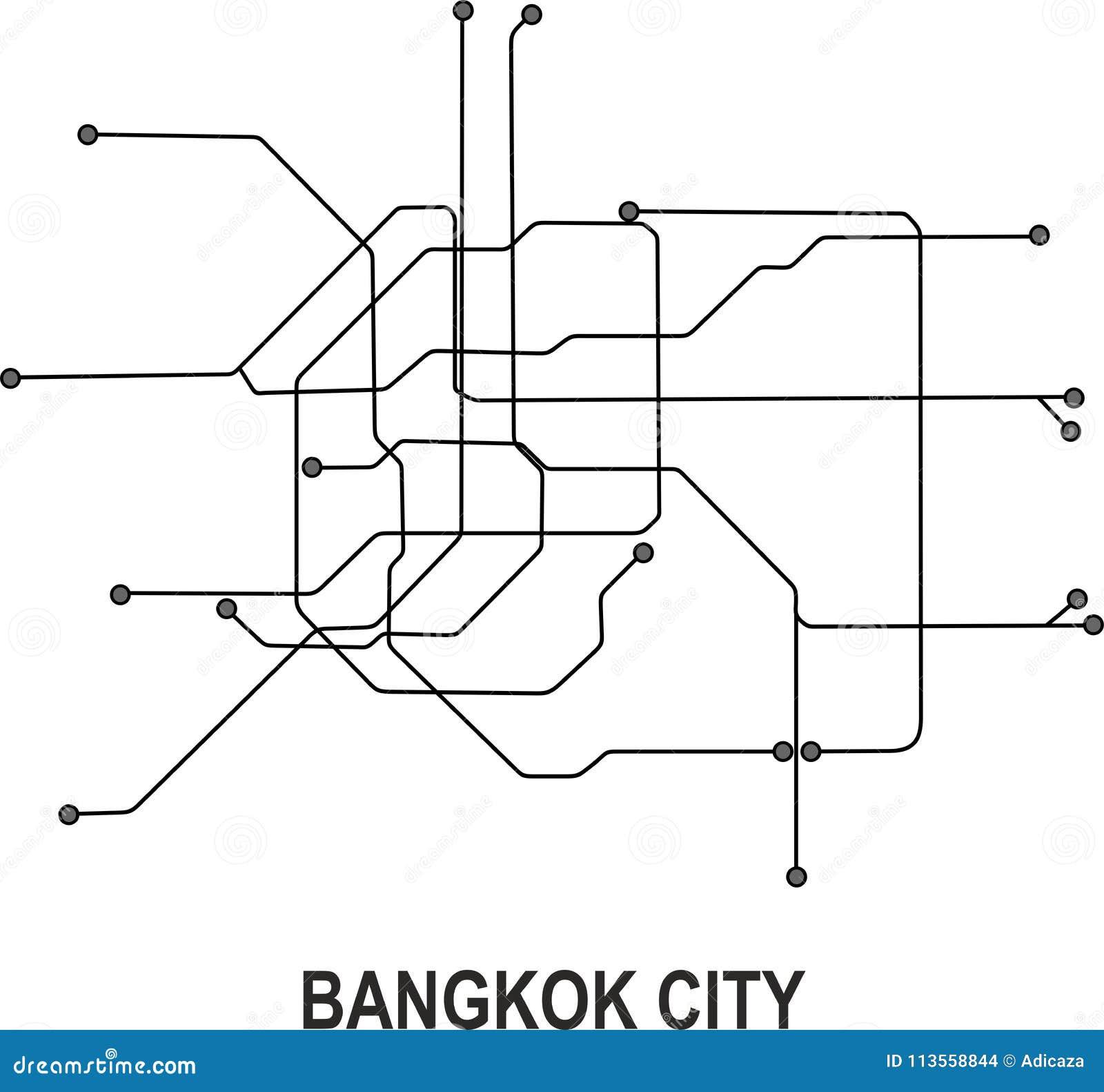 City Subway Map.Bangkok Subway City Map Stock Vector Illustration Of City 113558844