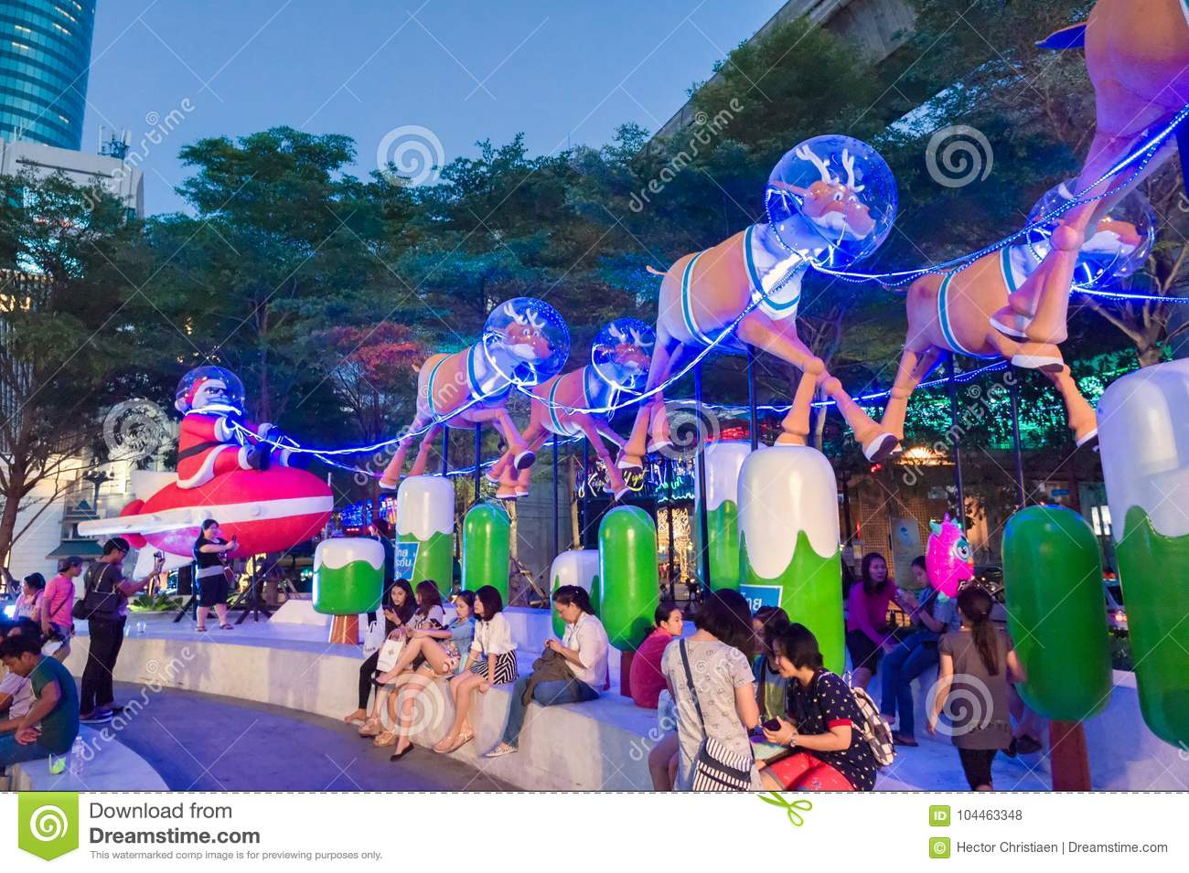 Christmas In Bangkok With Reindeer And Sleigh Editorial Stock Photo ...