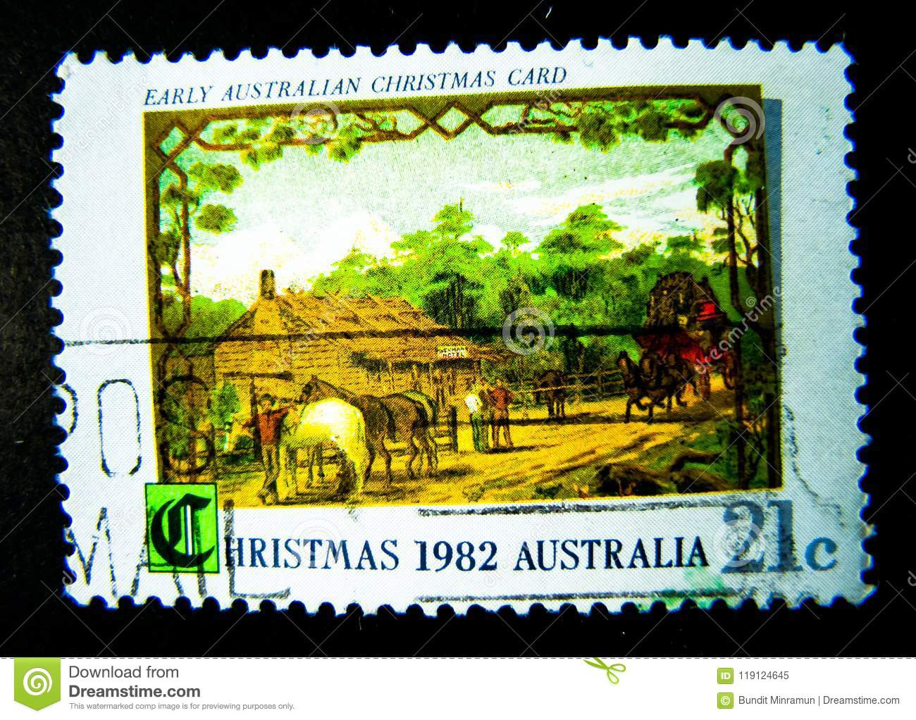 A Stamp Printed In Australia Shows An Image Of Early Australian