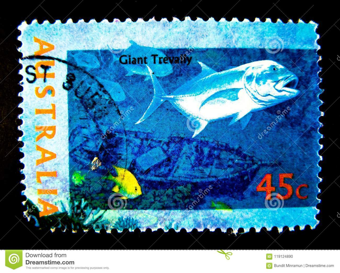 A Stamp Printed In Australia Shows An Image Of Giant Trevally Fish On Value At 45