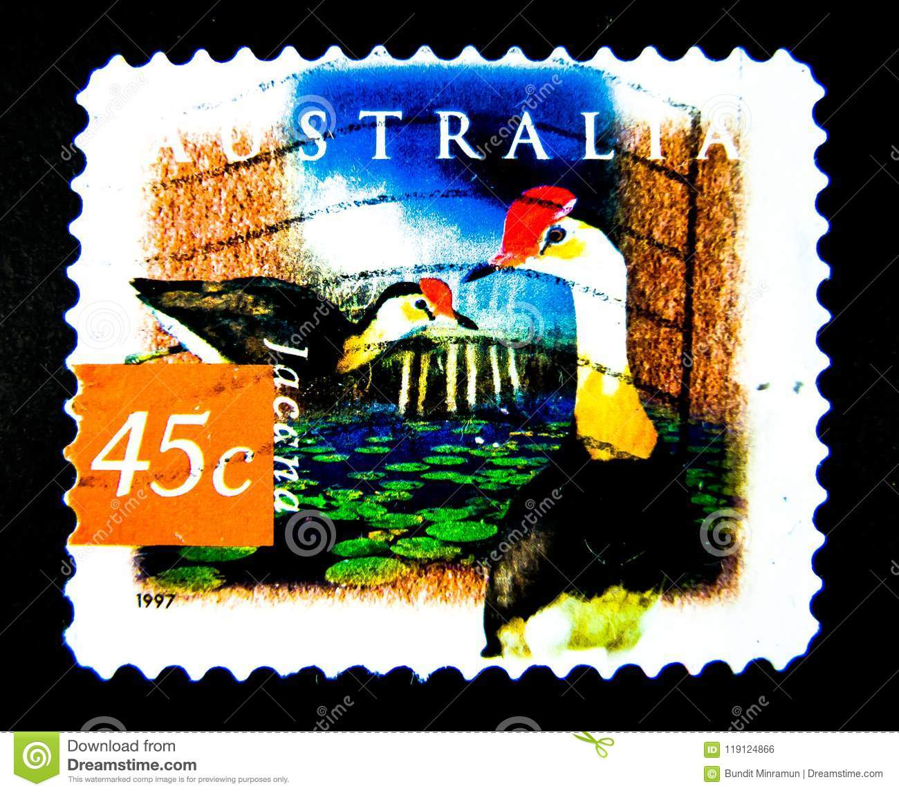 A Stamp Printed In Australia Shows An Image Of Jacana Bird On Value At 45 Cent Editorial Photo