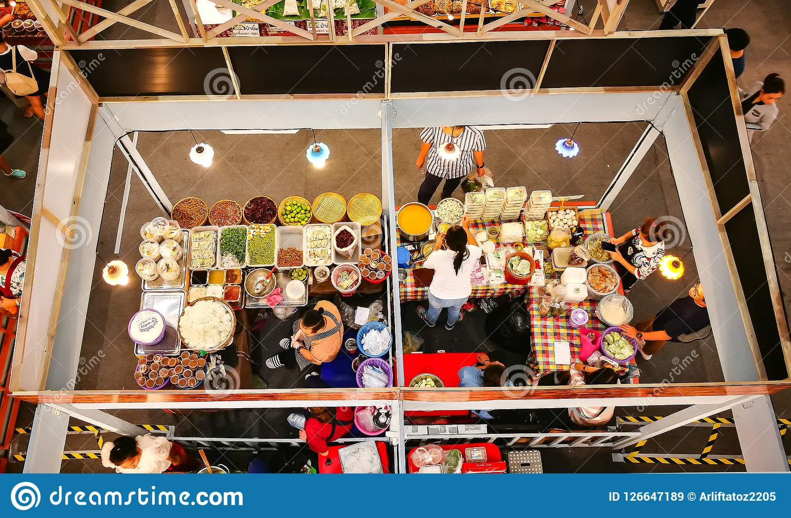 Indoor food stall for Thai food festival at a shopping center, the image in top view.