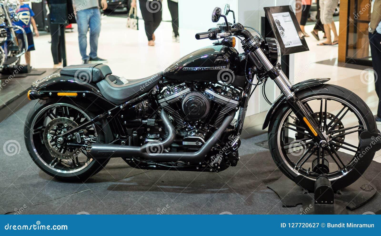 Motorcycle Harley Davidson breakout displaying at Motor Show.