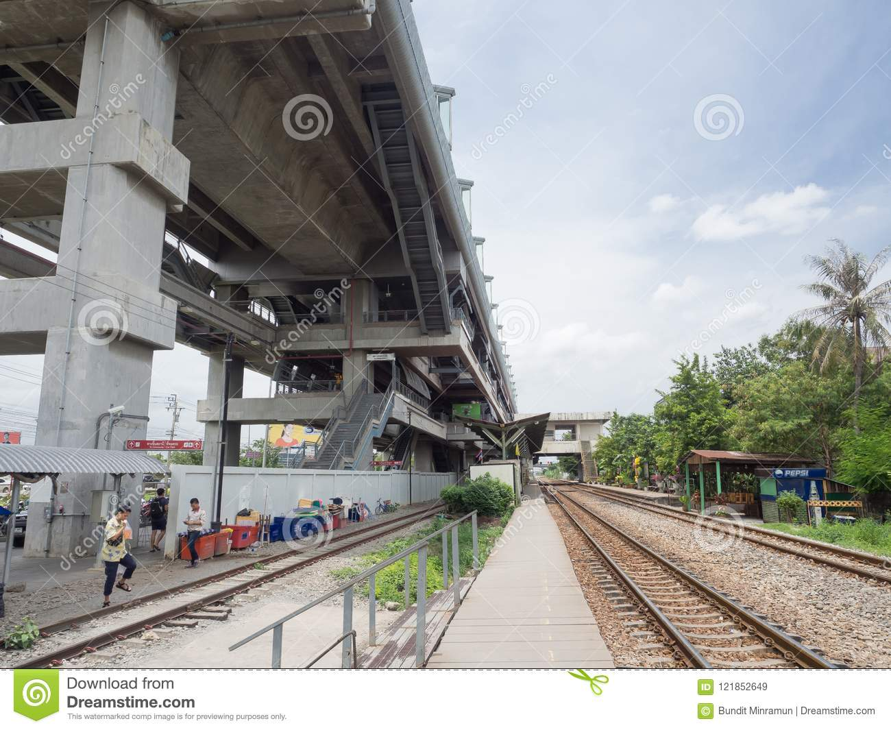 The Facade Building Of Lat Krabang Airport Rail Link Station Is High Speed  Rail Line To Inner Bangkok. Editorial Stock Image - Image of link,  platform: 121852649