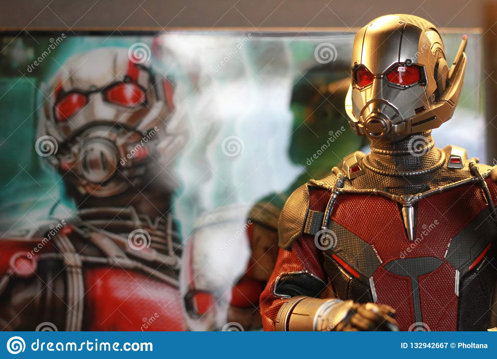 Close up shot of Antman Civil War superheros figure