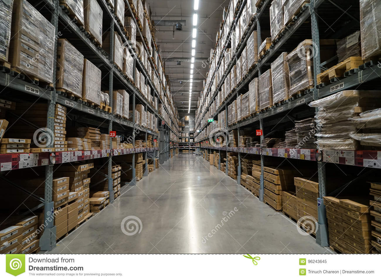 Bangkok, Thailand - April 6, 2017 :Row of packed ready-to-assemble furniture products in warehouse section, IKEA Bangna