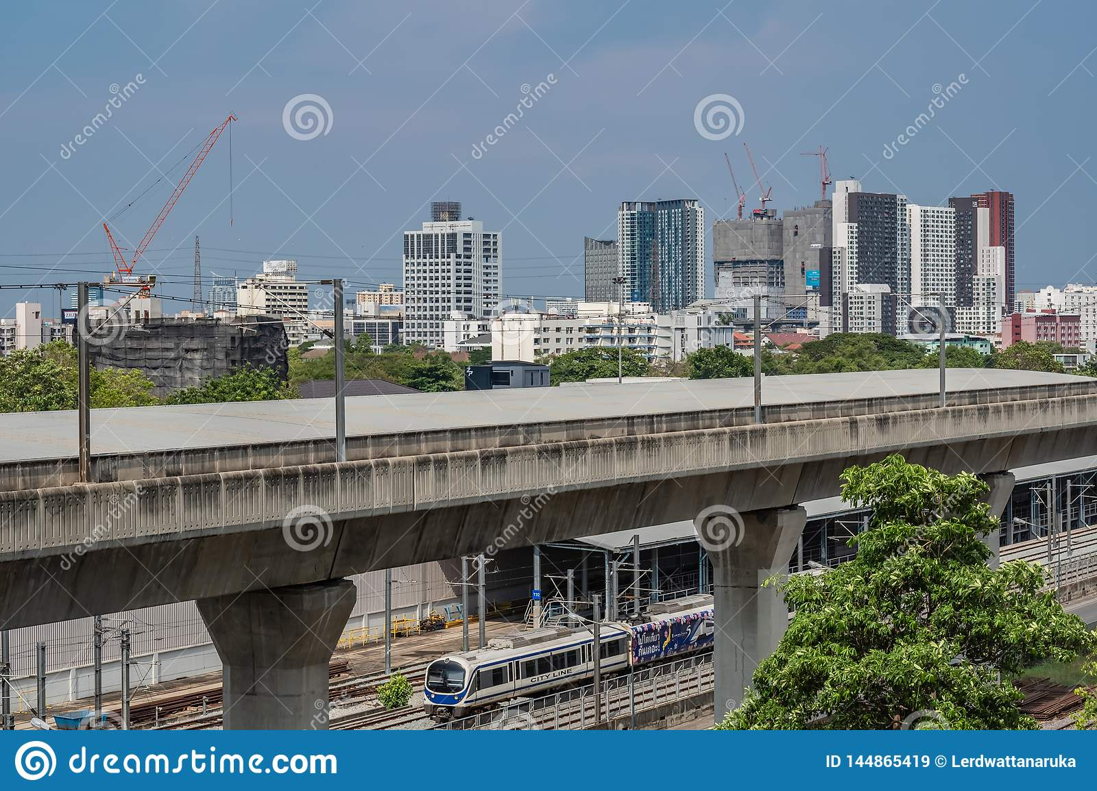 Bangkok , Thailand 14 April 2019 : Sky train bangkok and sky train garage