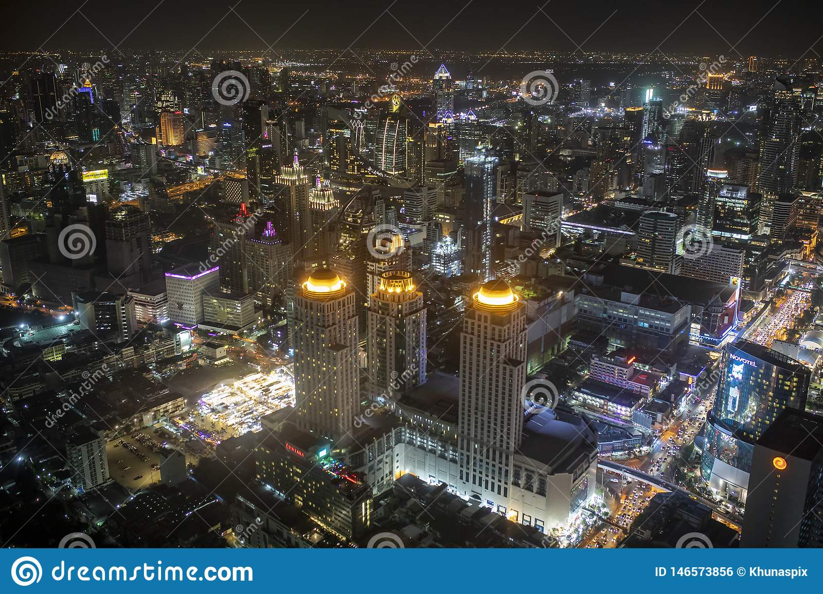 Bangkok thailand - august21,22018 : high angle view of urban skyline in heart of bangkok view from baiyoke tower formerly highest