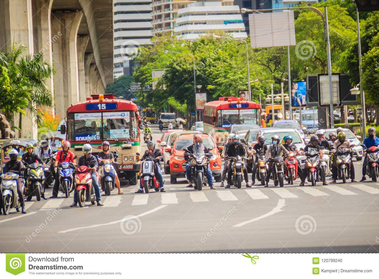 bangkok, thailand - august 21, 2017: many motorcycles, buses and