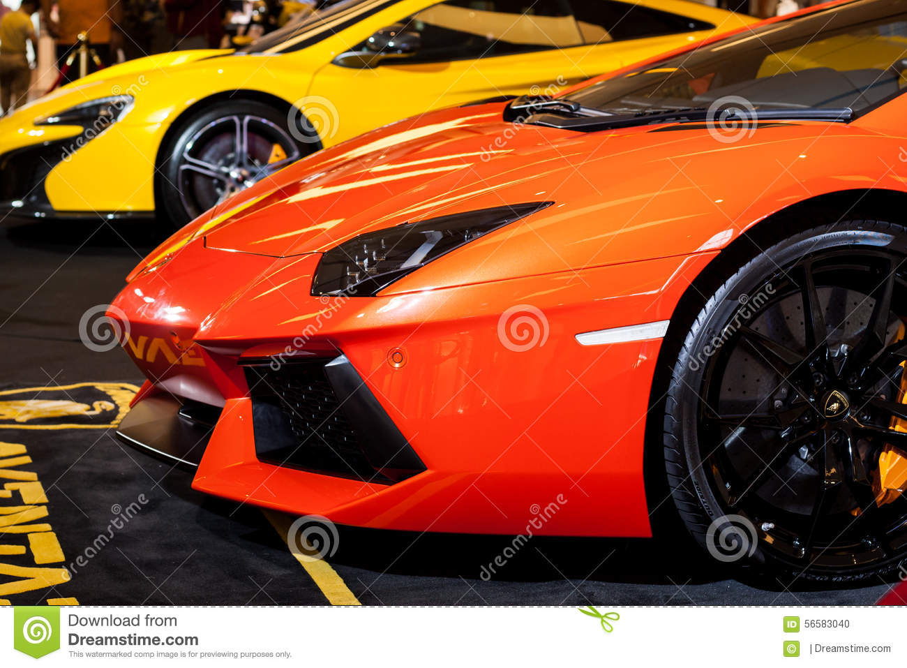 BANGKOK, THAILAND - AUGUST 7: New Lamborghini is showed at Siam Paragon on August 7,2015 in Bangkok,Thailand.