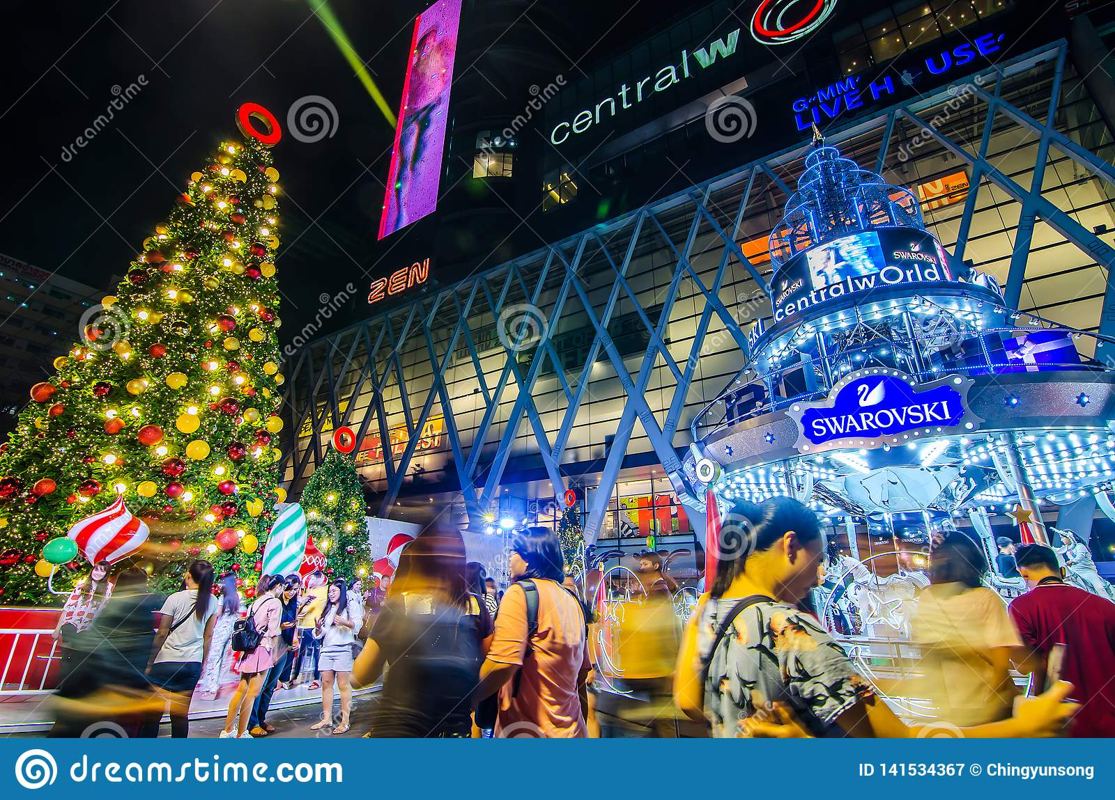 Welcome To Christmas.Centralworld Shopping Mall At Night Welcome To Christmas