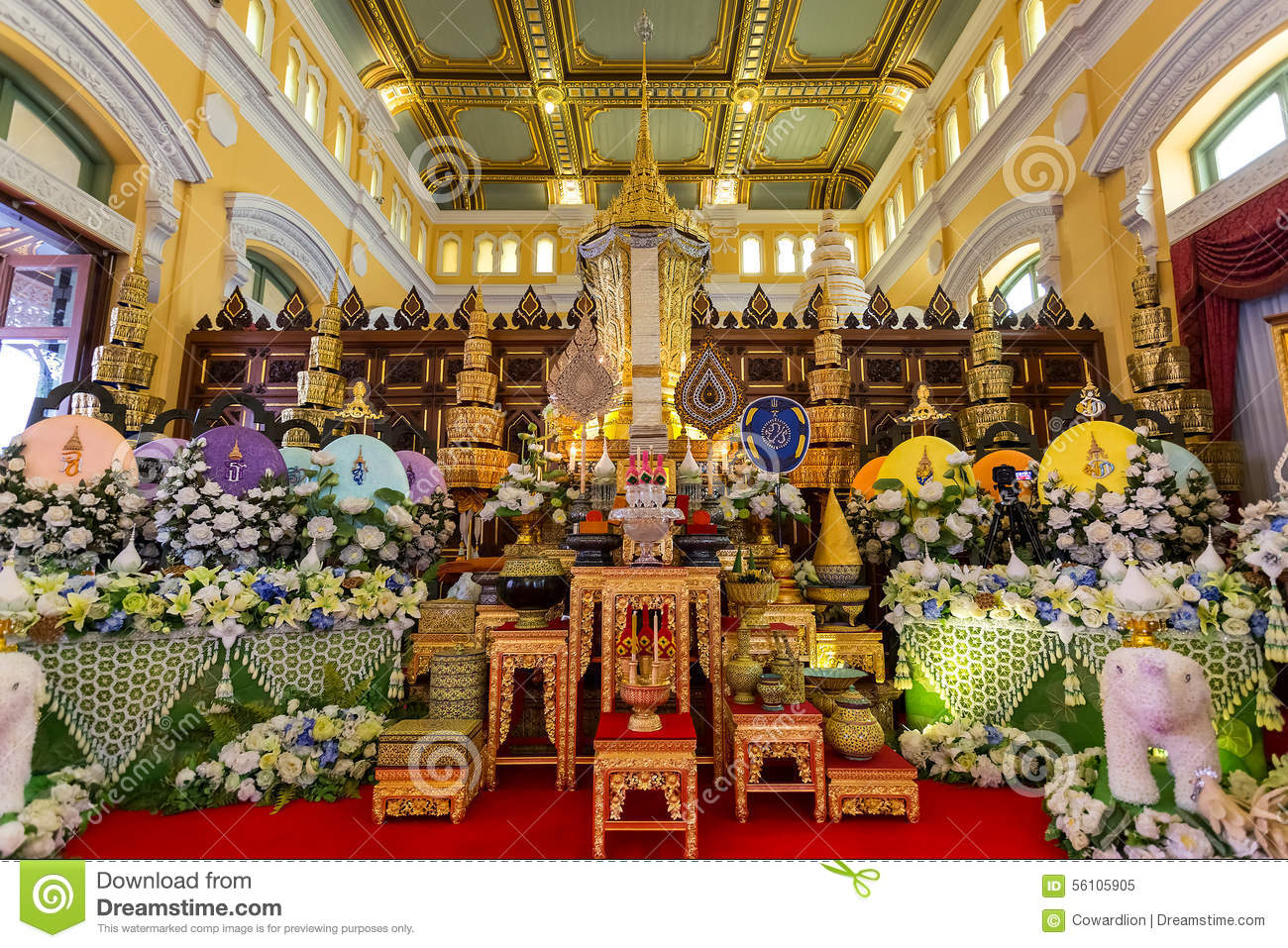 Bangkok, Thailand - December 24 2014: The mortuary urn of Buddhist supreme patriarch of the Buddhist priests in the mainn hal