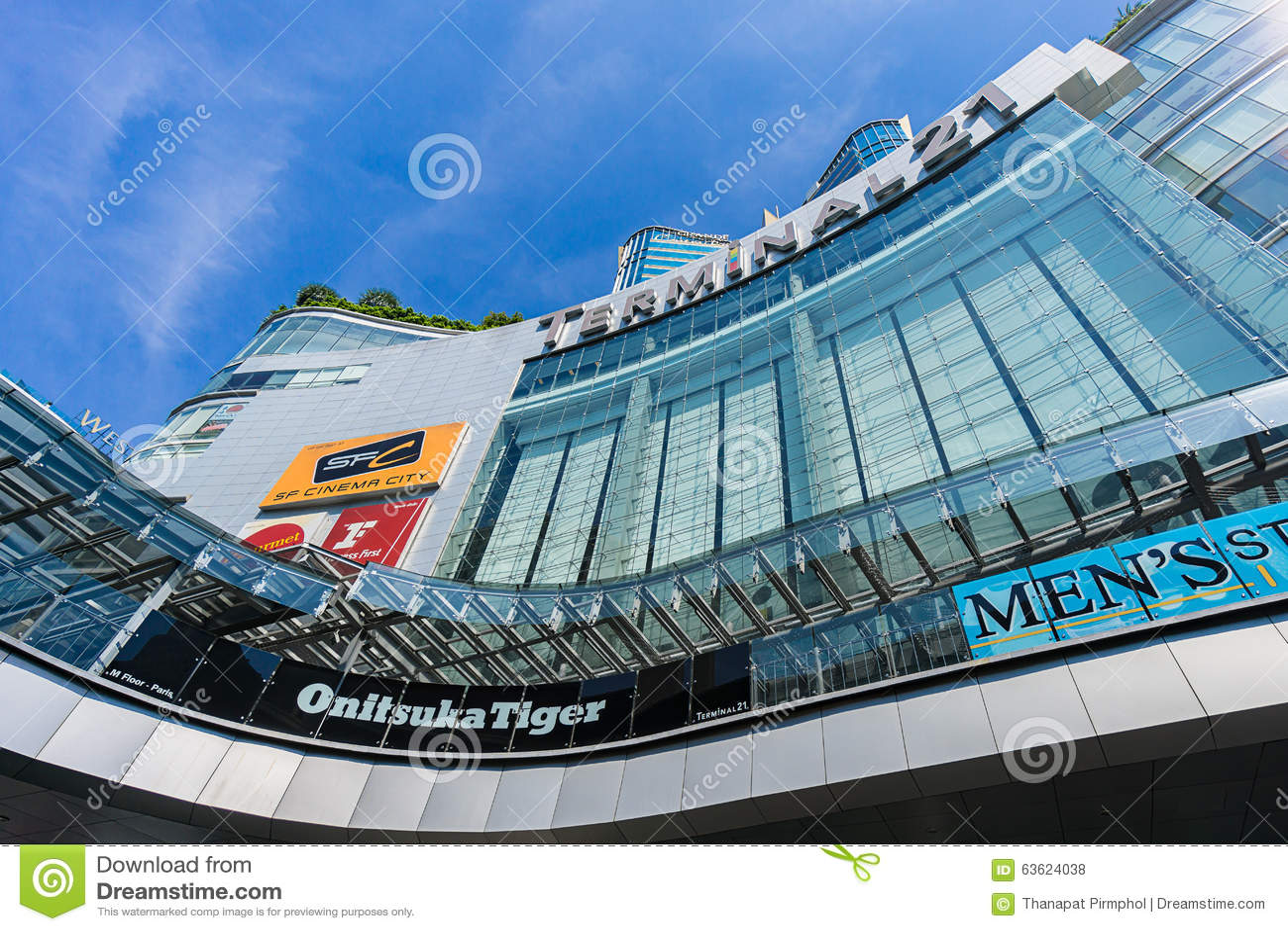 Bangkok, Thailand - 7 December 2015 : The view from below of Terminal 21 (famous shopping mall at BTS Asoke and MTR Sukhumvit)