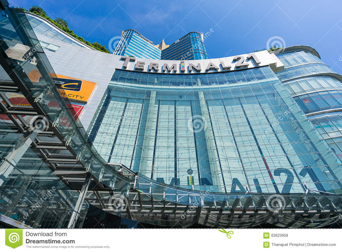 Bangkok, Thailand - 7 December 2015 : The view from below of Terminal 21 (famous shopping mall at the intersection of BTS Asoke an