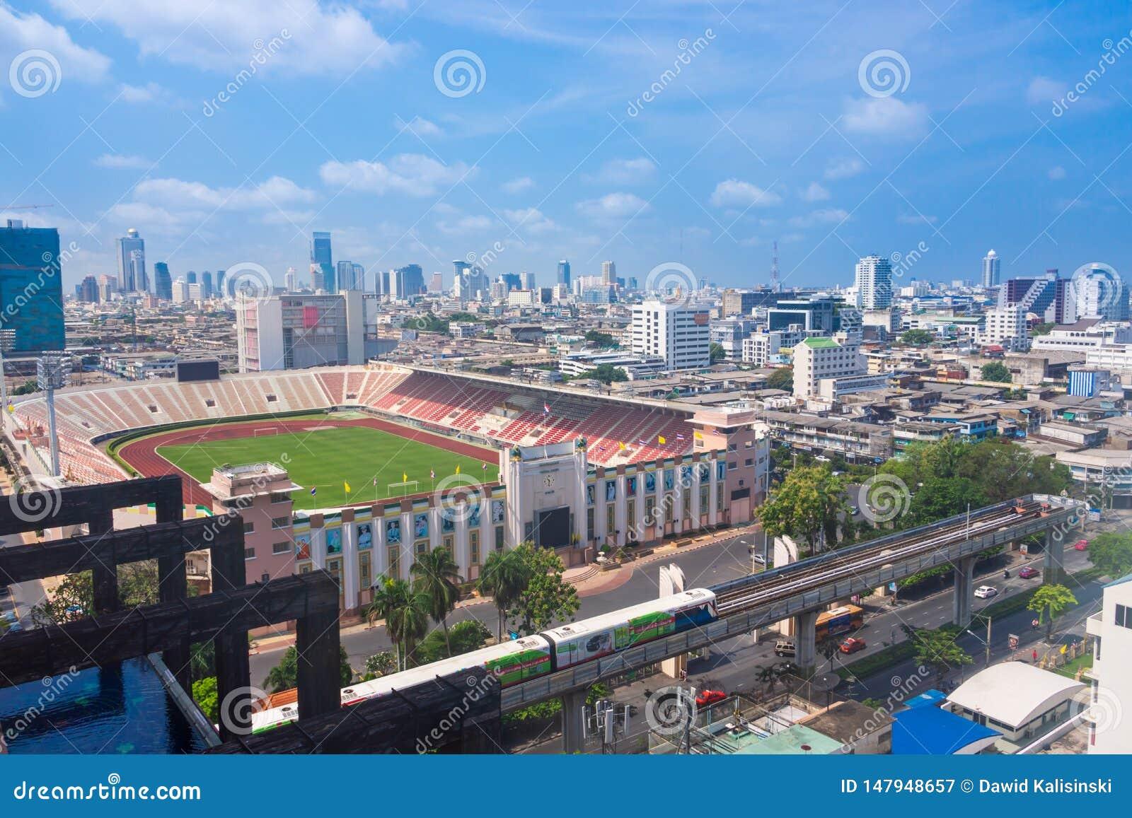 Bangkok Thailand, Bangkok f?r mars 2013 nationell stadion, flyg- sikt