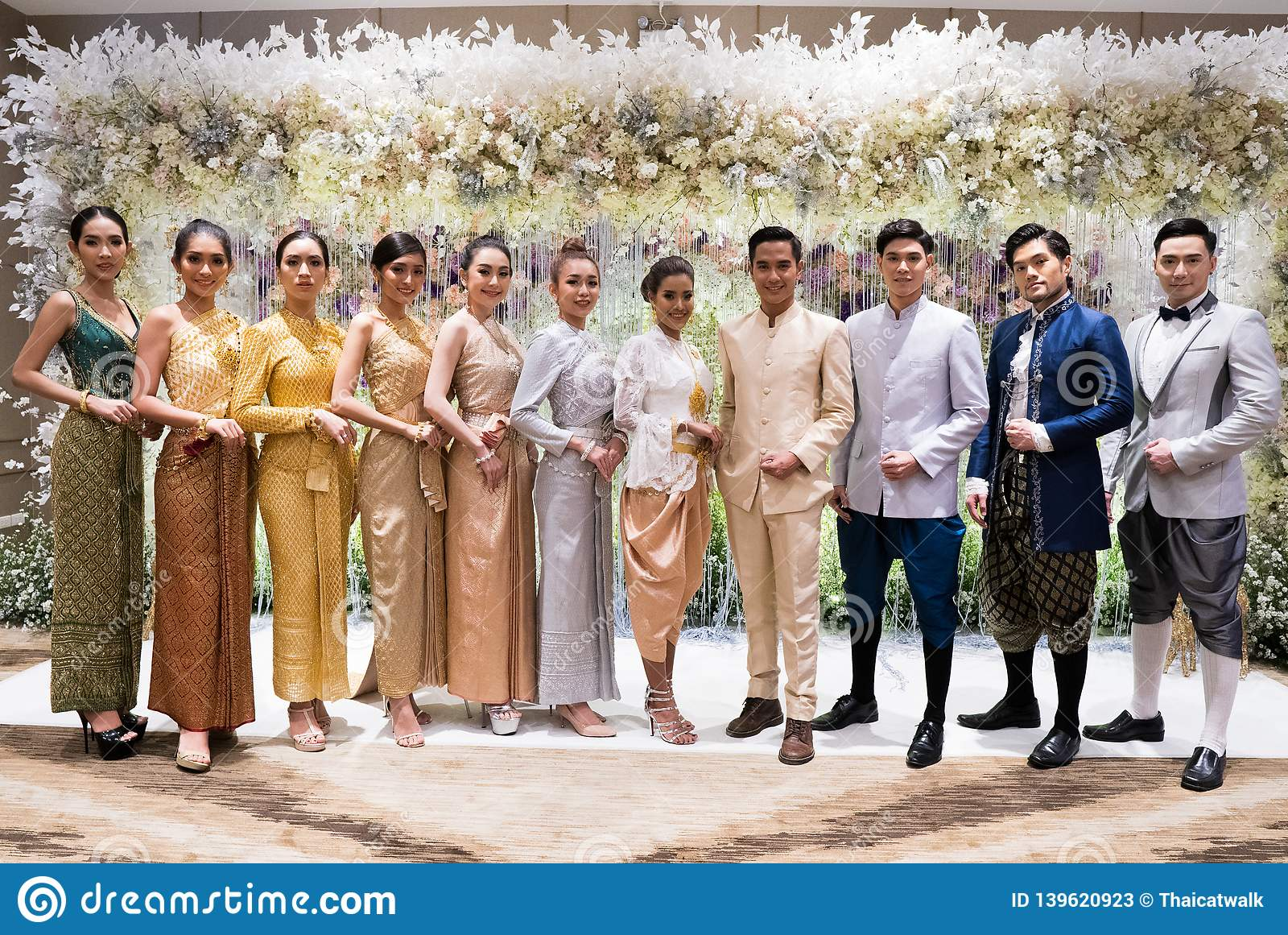 b711601ba Bangkok, Thailand - February 17, 2019 ; Group Photo of Fashion Model in Thai  Traditional Costume Wedding Dress present on Catwalk in Four Wings Hotel  for ...