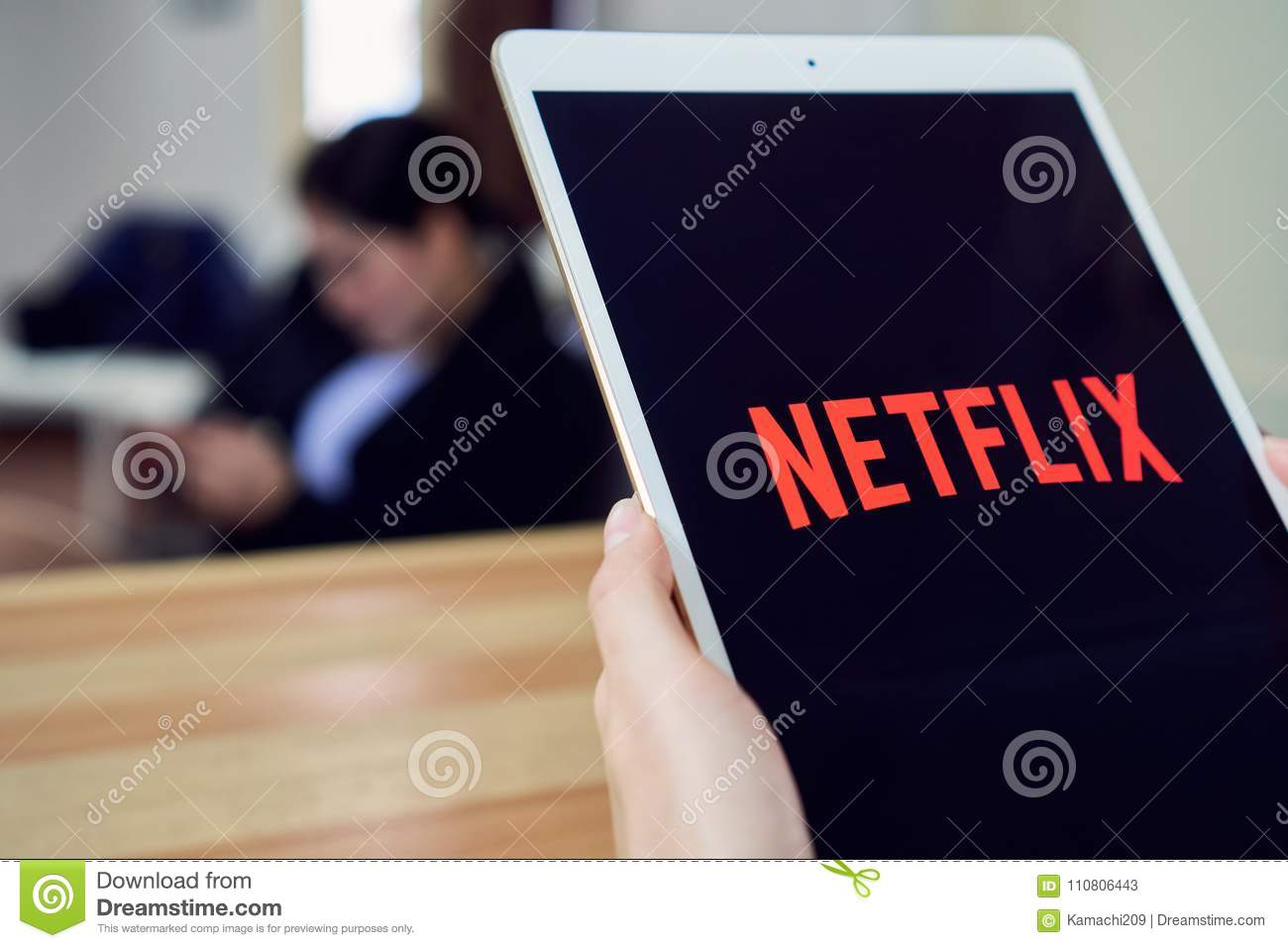 Bangkok, Thailand - February 26, 2018 : Netflix App On Tablet Screen