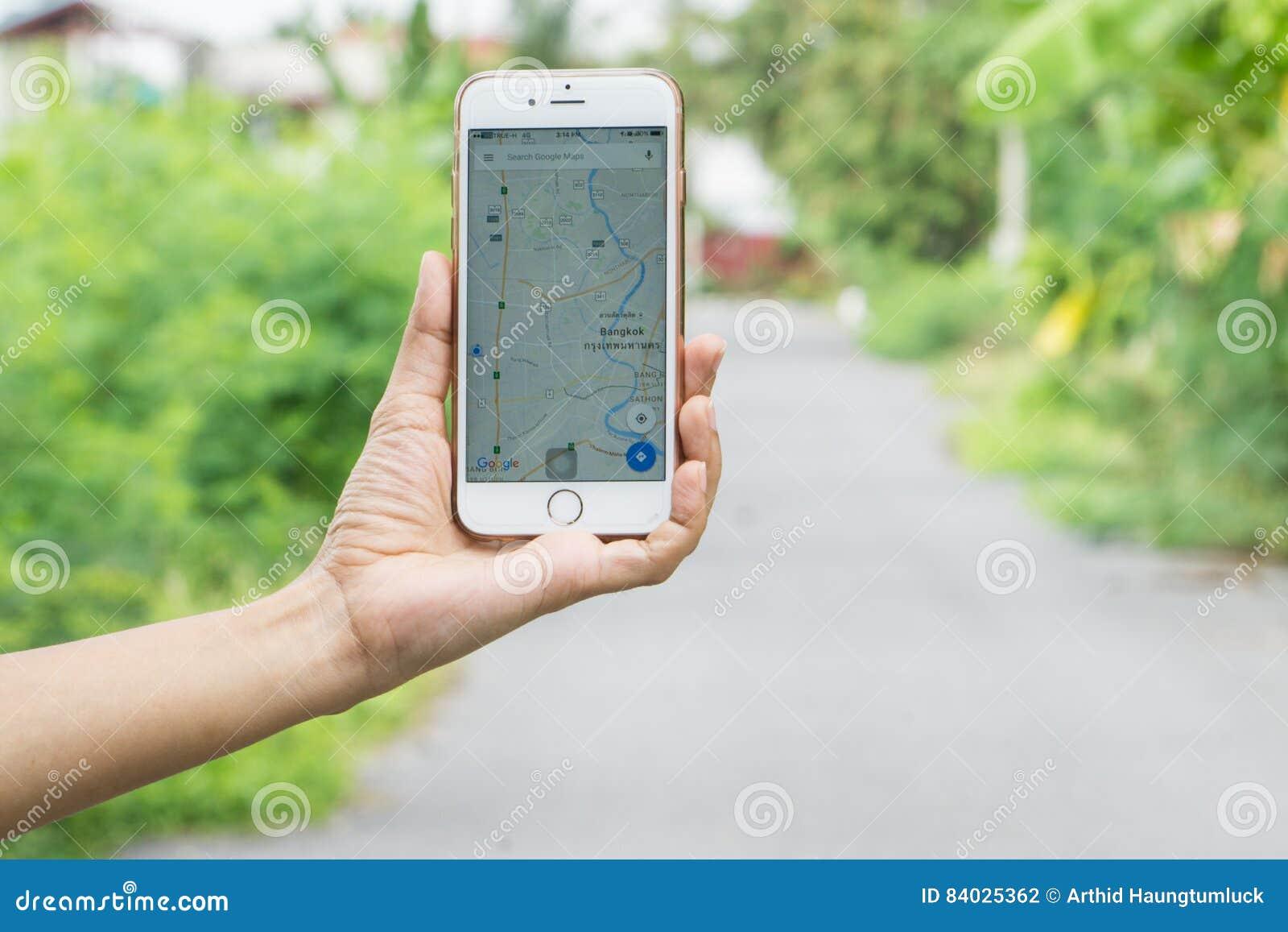 BANGKOK, THAILAND ,Google Map app display on iphone screen in female hands