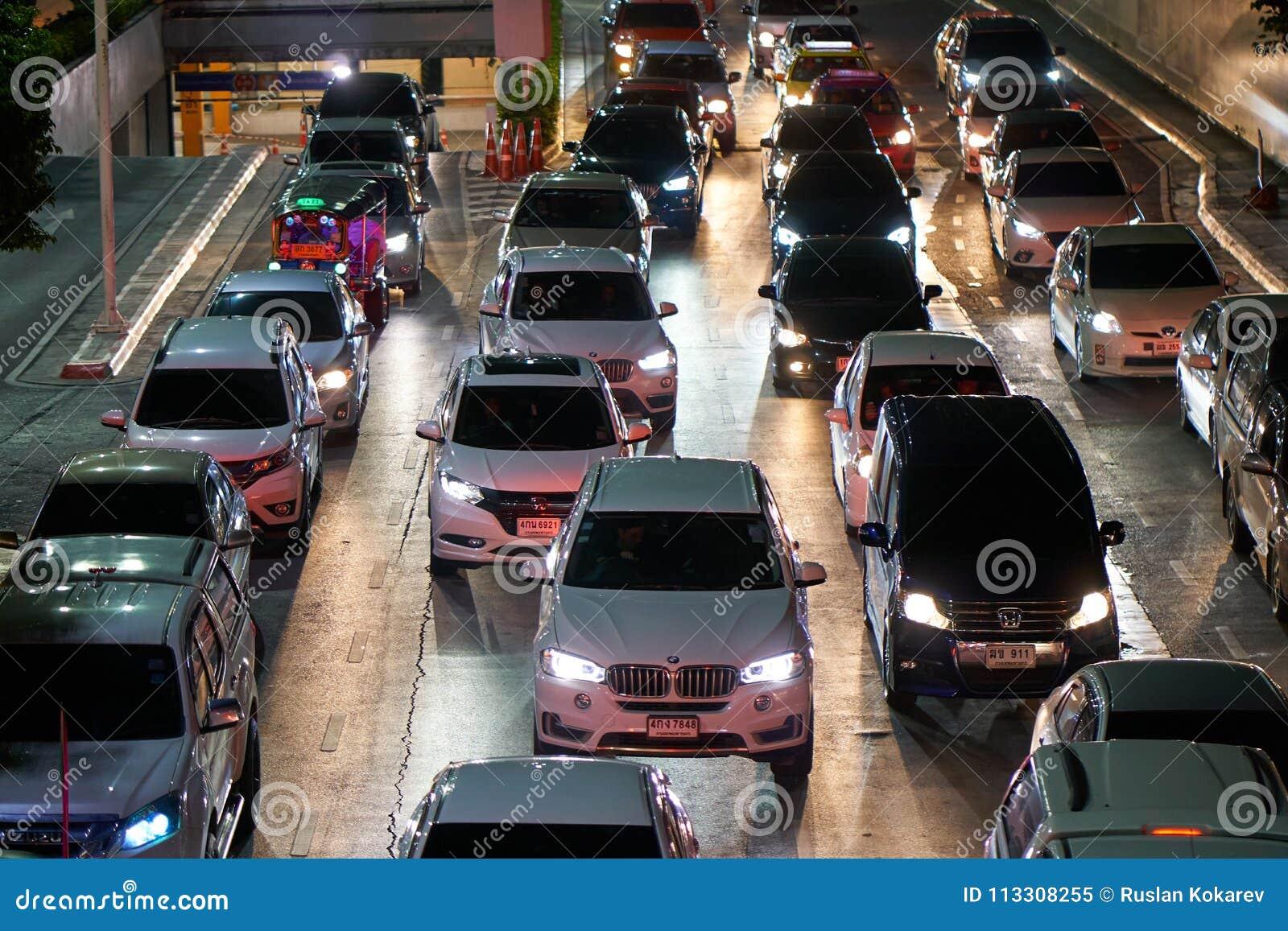 Road Traffic In Bangkok Downtown  Editorial Image - Image of