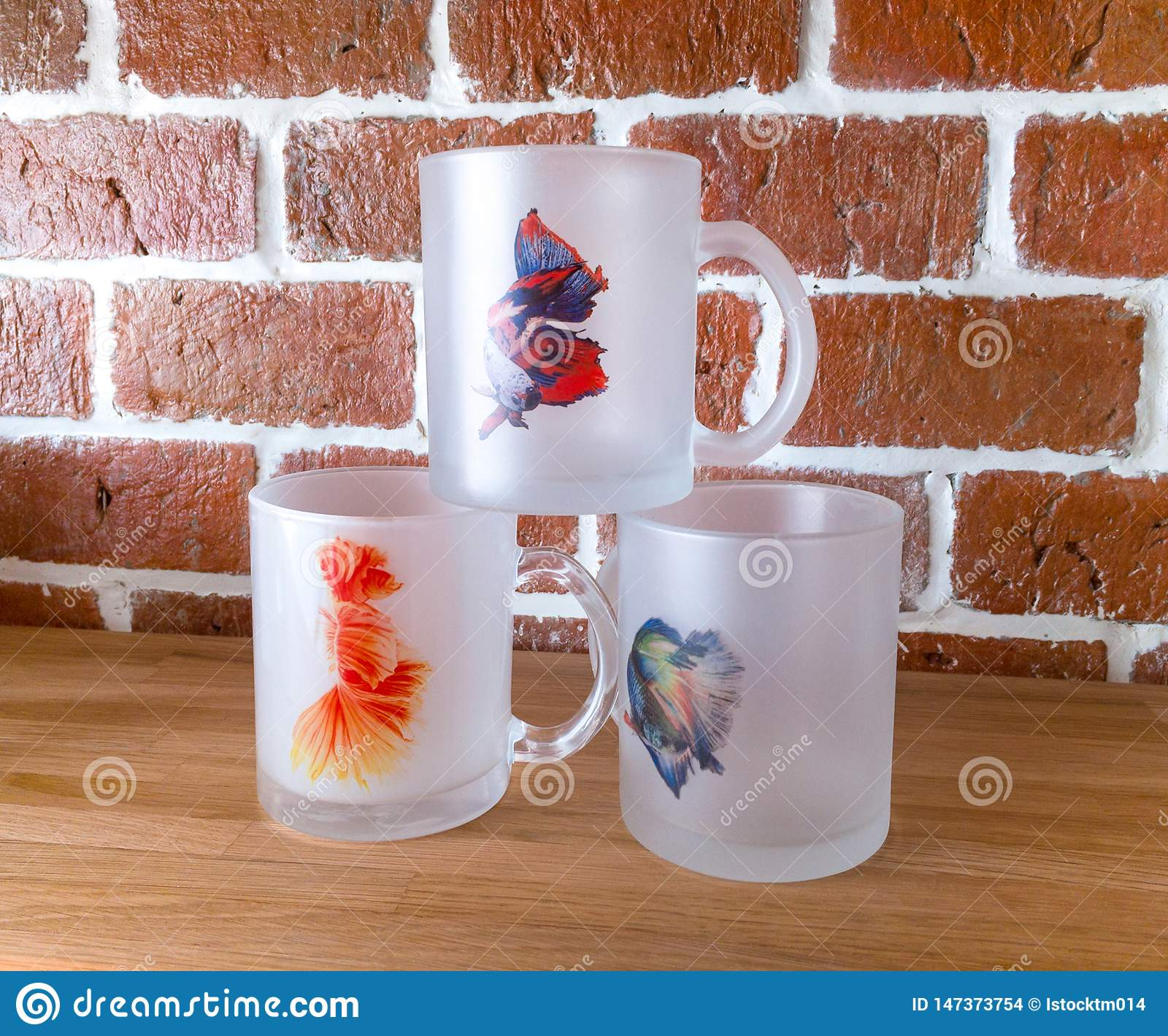 Bangkok Thailand June 14 2017 Overlap Clear Design Mugs And Screen Sublimation Ink In Asian Fighting Fish Concept On Display Editorial Stock Image Image Of Fish Design 147373754