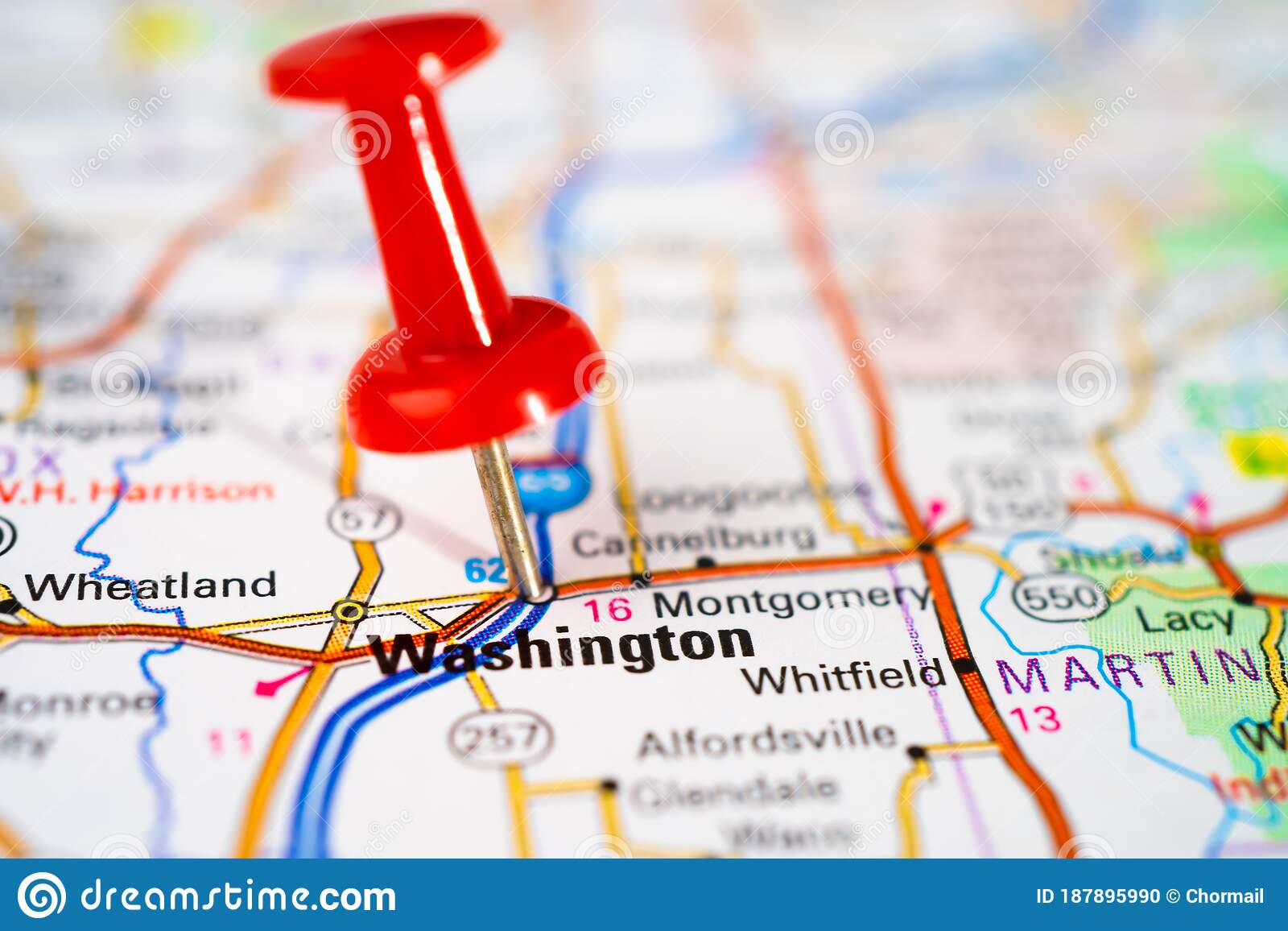 Picture of: Washington Road Map With Red Pushpin City In The United States Of America Usa Stock Photo Image Of Country Global 187895990