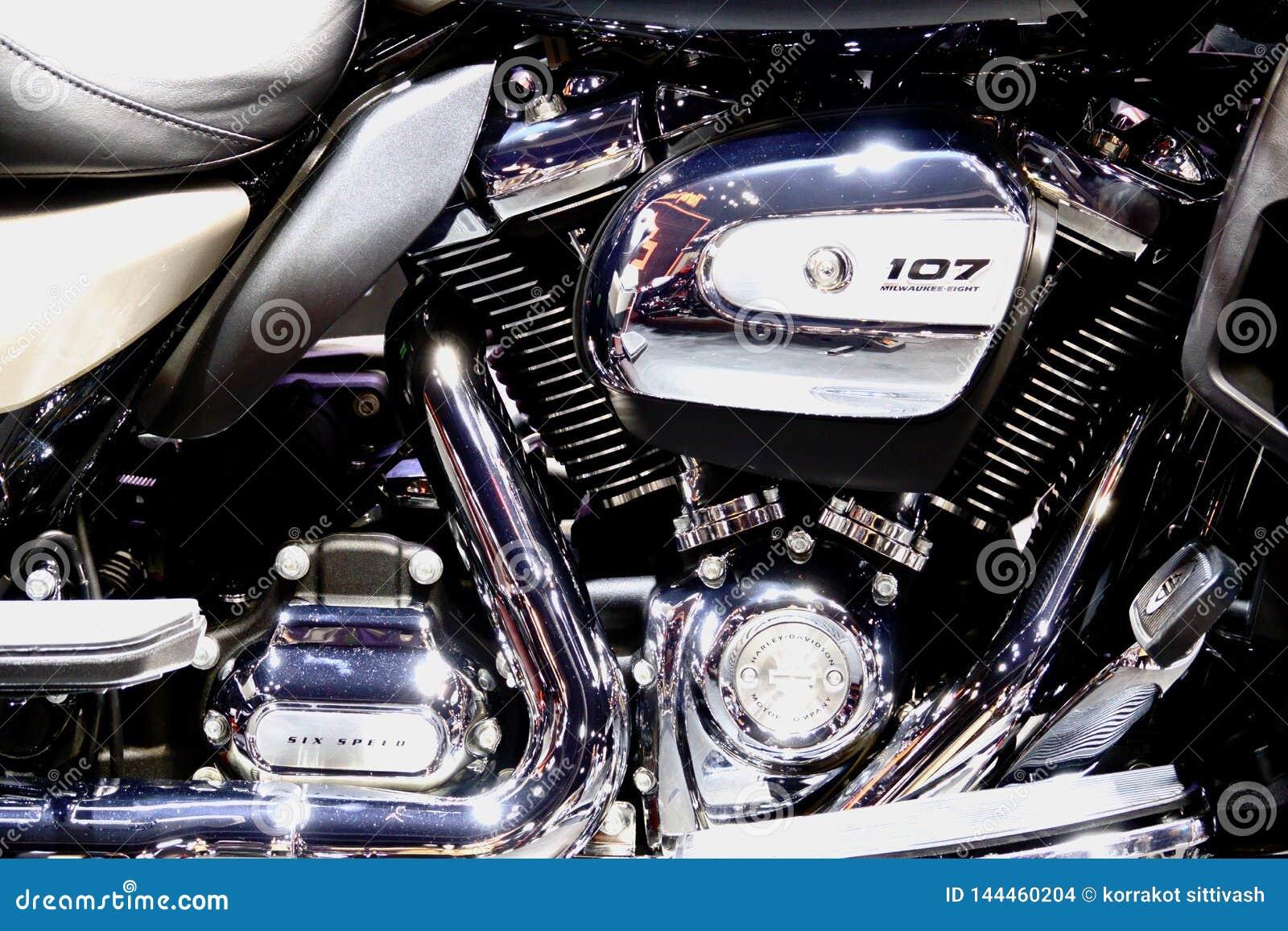Bangkok, Thailand 30. M?rz 2019: Bewegungsfahrraddetail-cc$ein Harley-Davidson-Motorrad wurde in 40. internationalem Motor Thaila