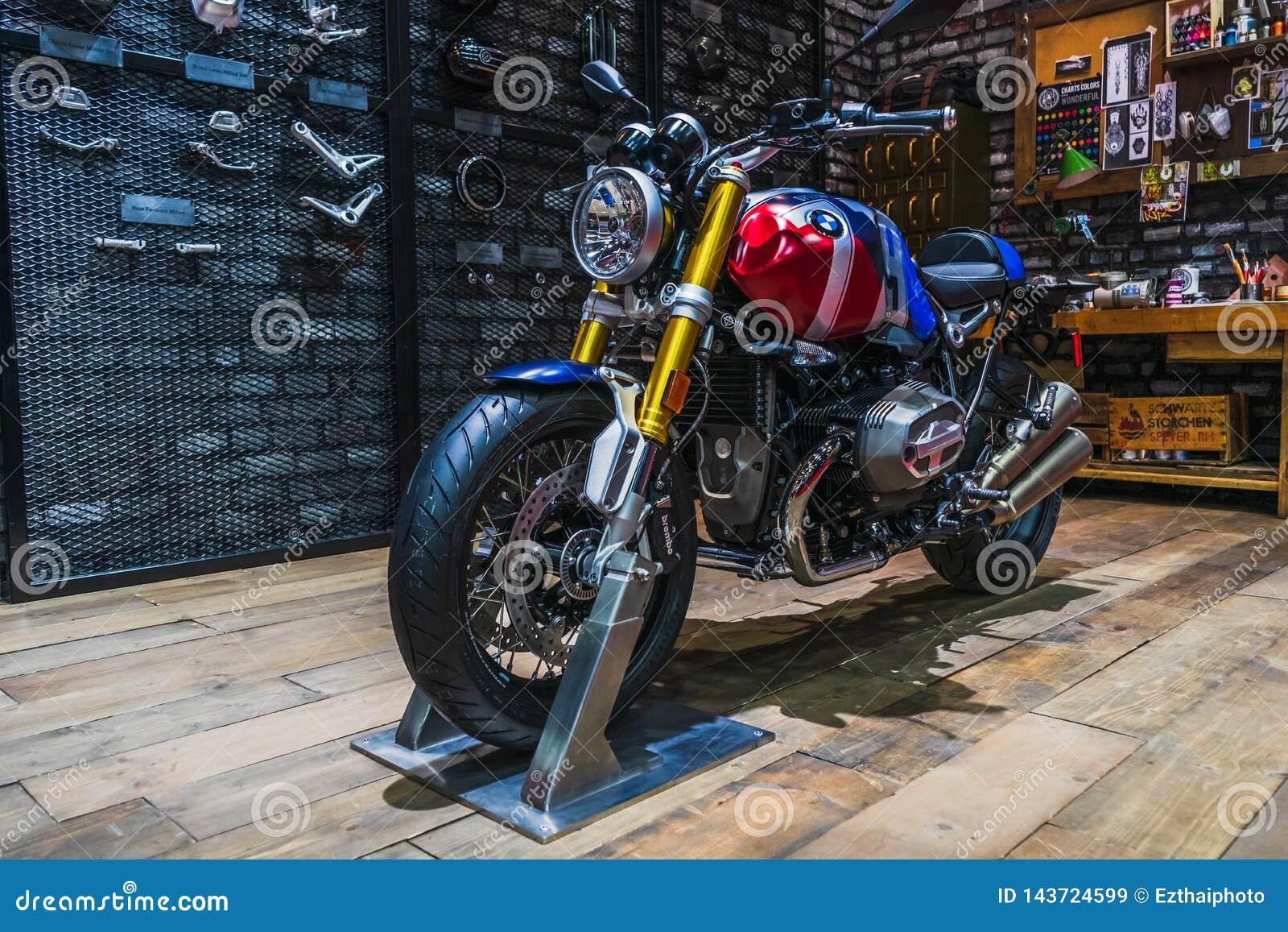 Bangkok, Thailand - March 31, 2019:  BMW R nine T Option 719 Naked Roaster bike Modified on display at The 40th Bangkok