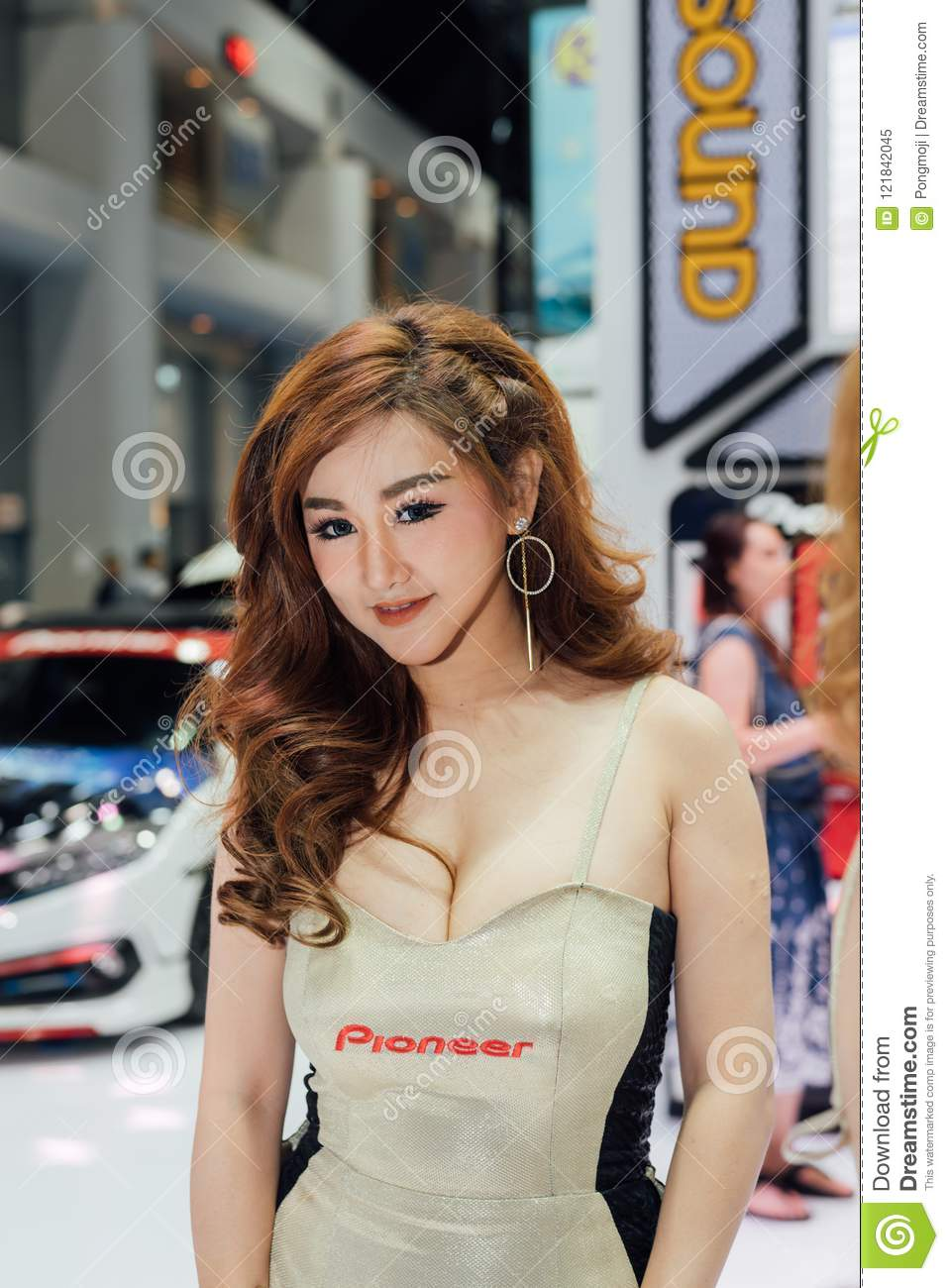 Bangkok, Thailand - March 31, 2018 : Unidentified model pretty lady beauty  and on display in car show event. This a open event no need press  credentials ...