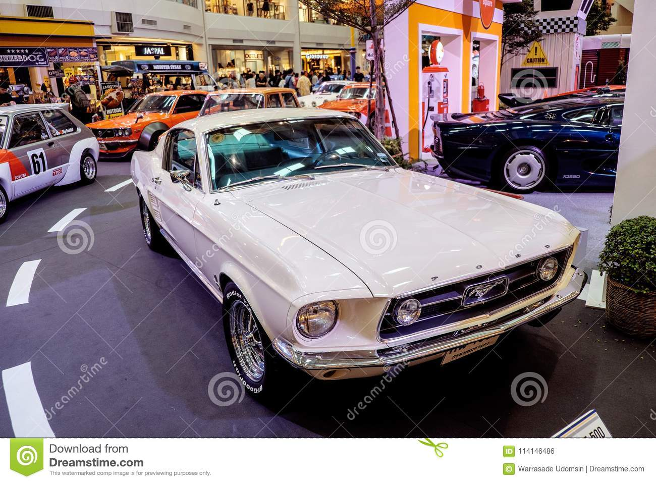Bangkok thailand march 11 2018 a vintage car ford mustang shelby gt
