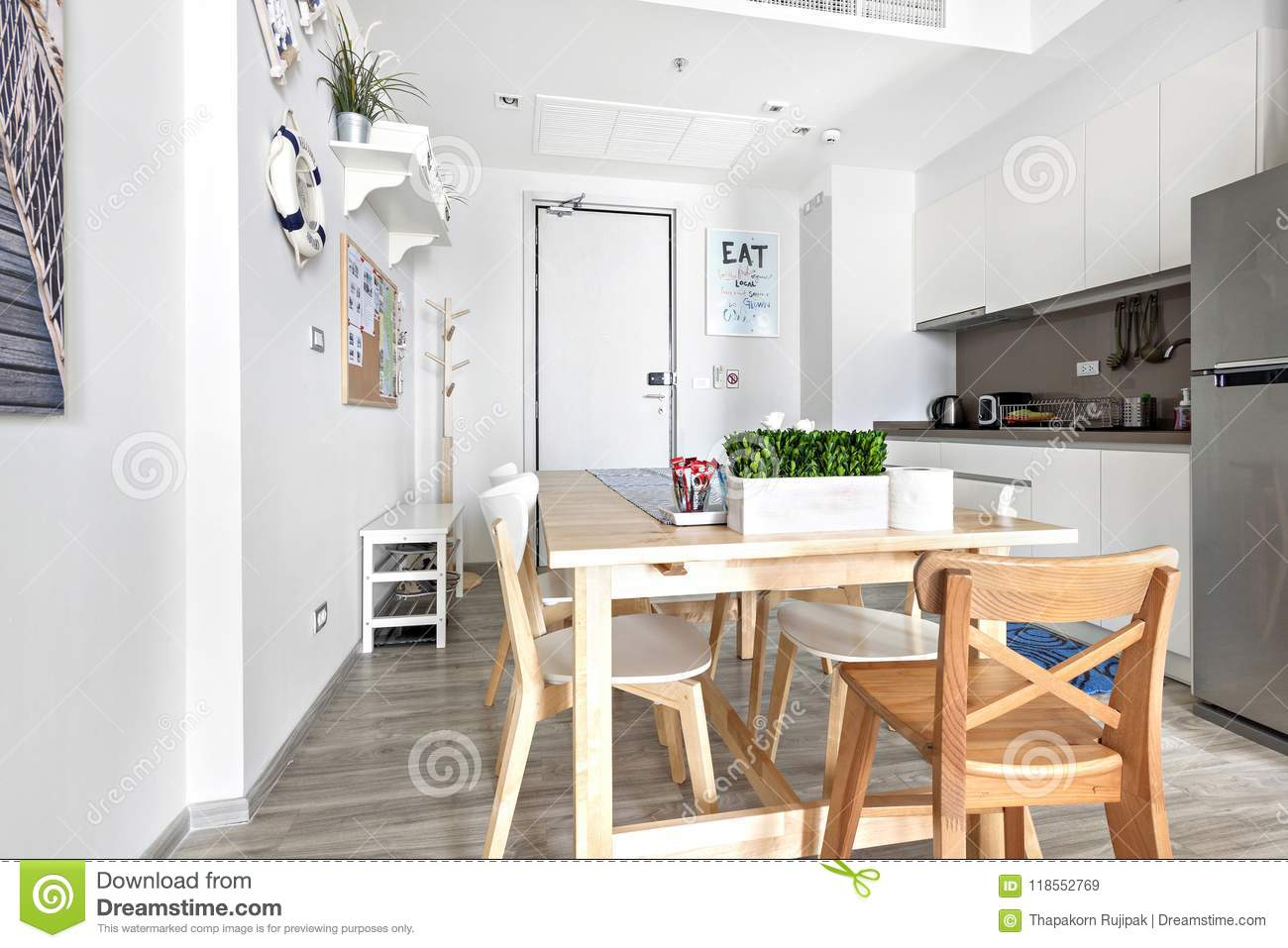 Wondrous Kitchen And Table Dinning In Condominium Stock Image Image Complete Home Design Collection Epsylindsey Bellcom