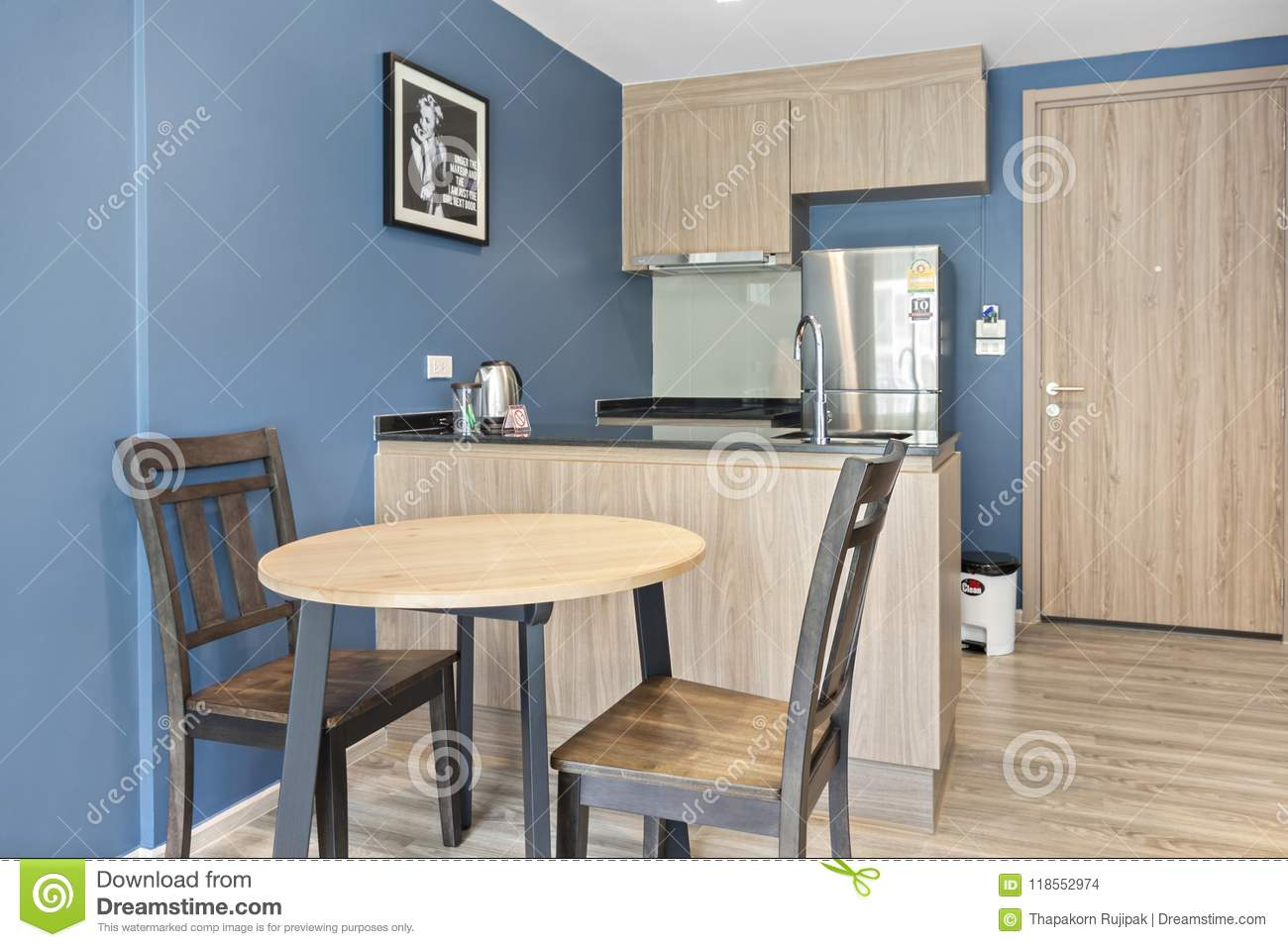 Cool Kitchen And Table Dinning In Condominium Editorial Stock Complete Home Design Collection Epsylindsey Bellcom
