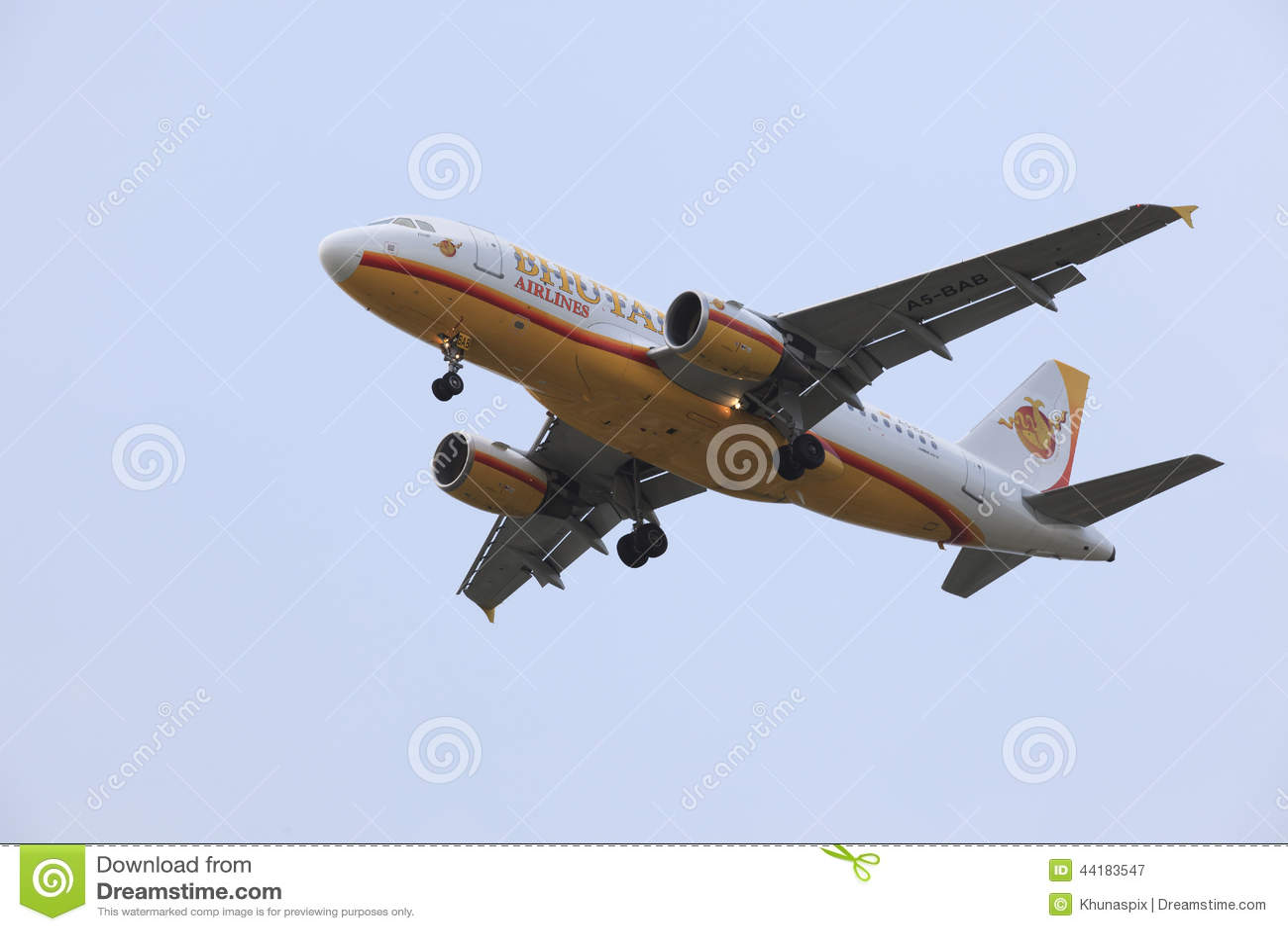 BANGKOK THAILAND - MAY25 : passenger plane of Bhutan Airlines pr