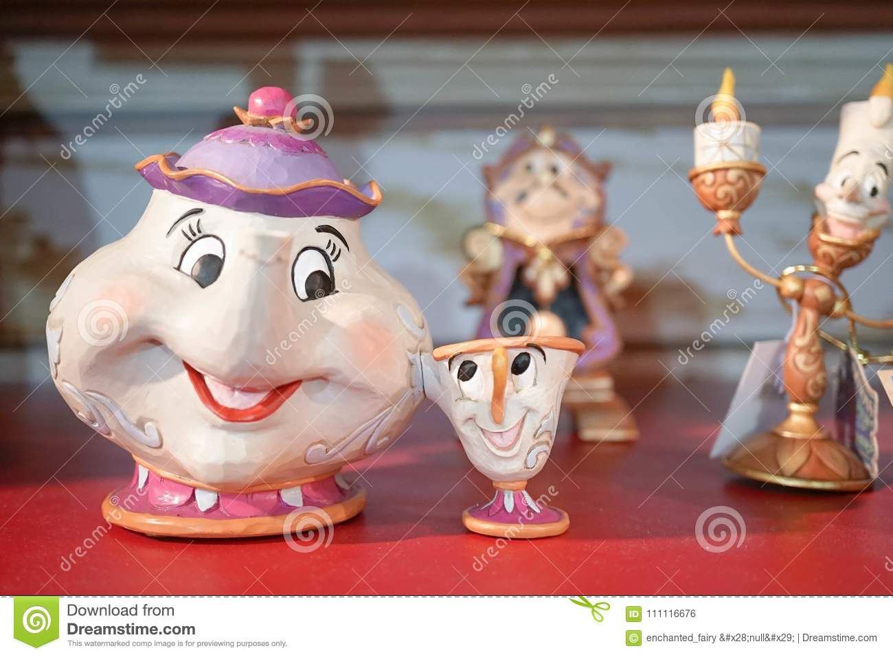 Disney Merchandise of Mrs. Potts & chips are on Display along with other supporting characters