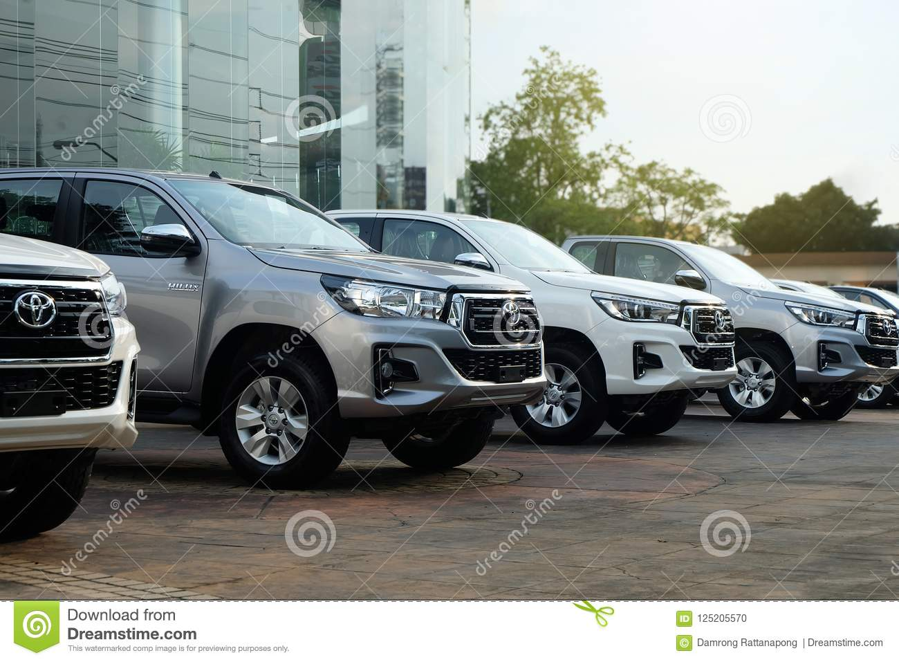 Bangkok, Thailand - May 13, 2018 :Row of New Pickup Trucks For Sale, Toyota Hilux Revo 2018
