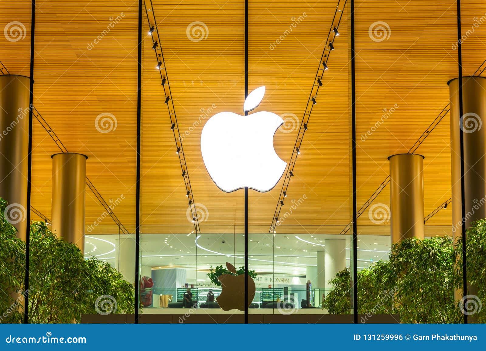 Bangkok, Thailand - November 9, 2018 : Apple store shopfront log