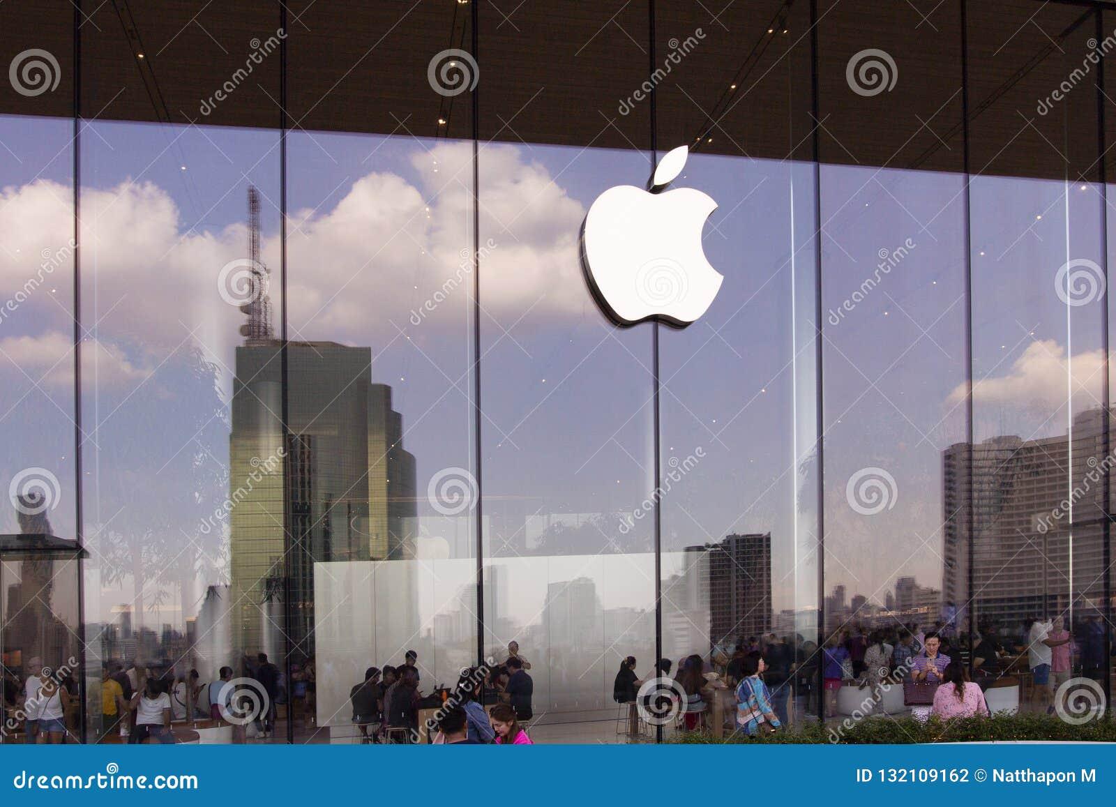 Bangkok, Thailand, 13 November, 2018: buiten Apple-opslagloo