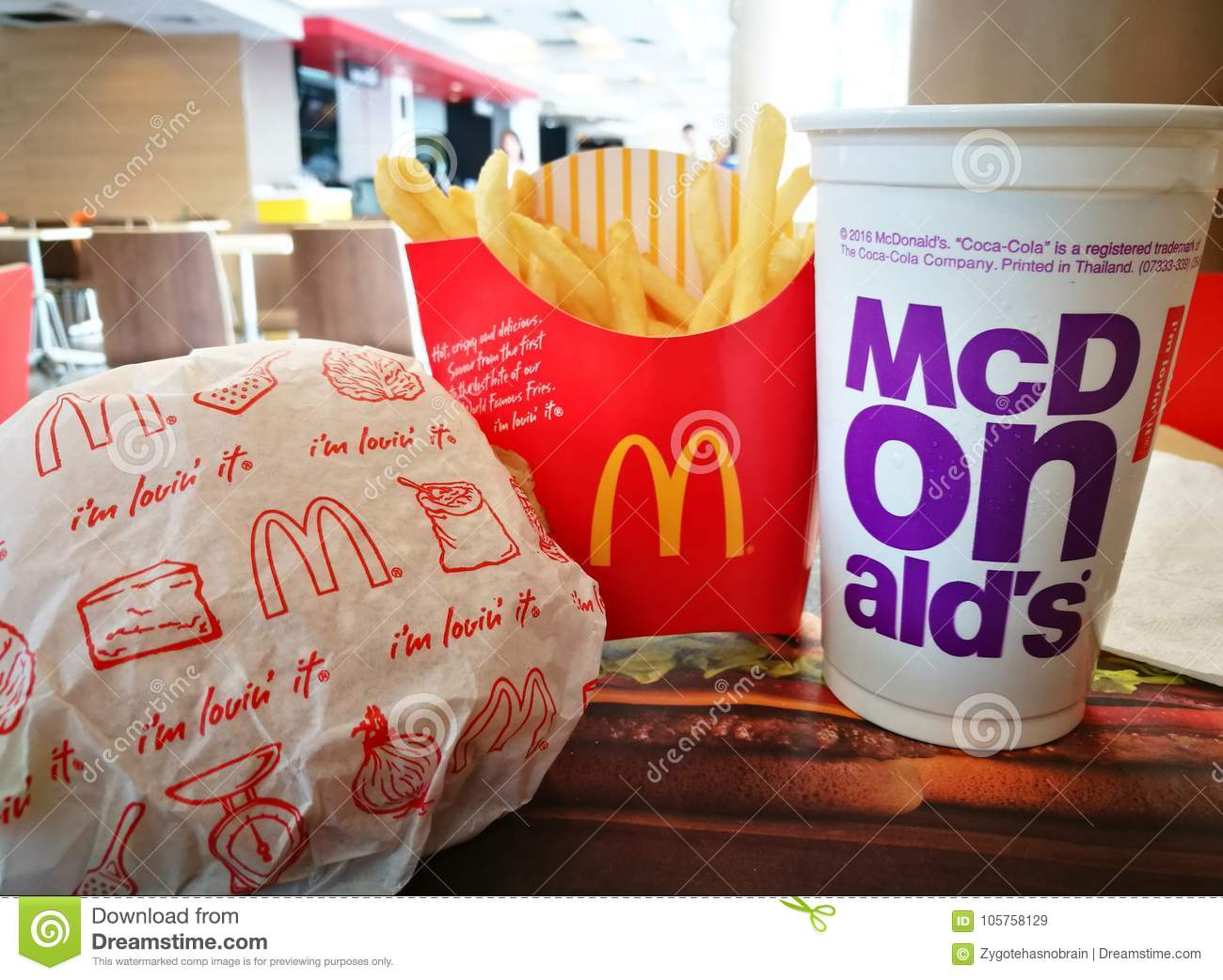 McDonald`s snack set  editorial stock image  Image of million